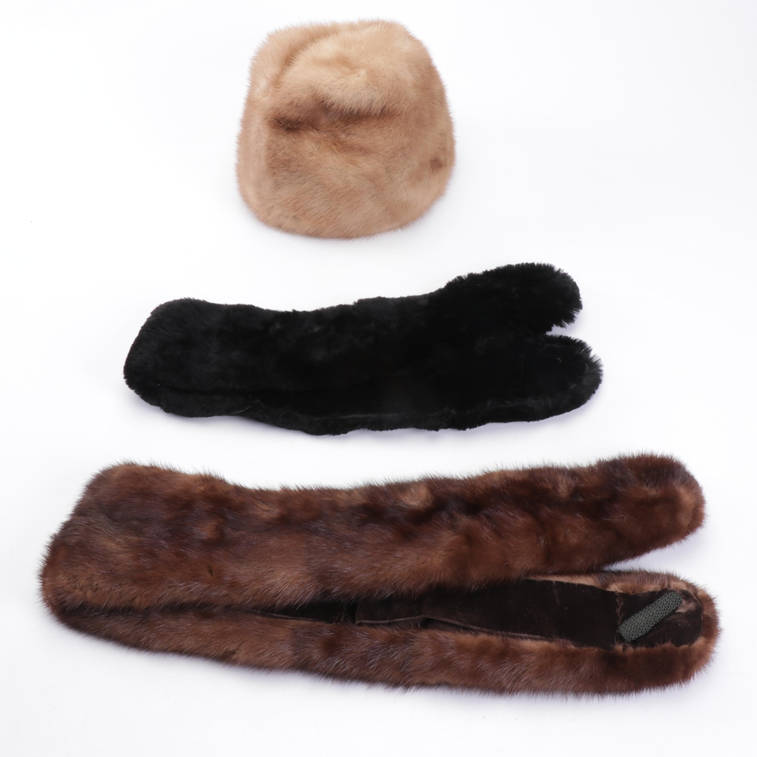 Mr. Marc New York Mink Fur Hat with Dyed Sheared Beaver and Marten Fur Collars