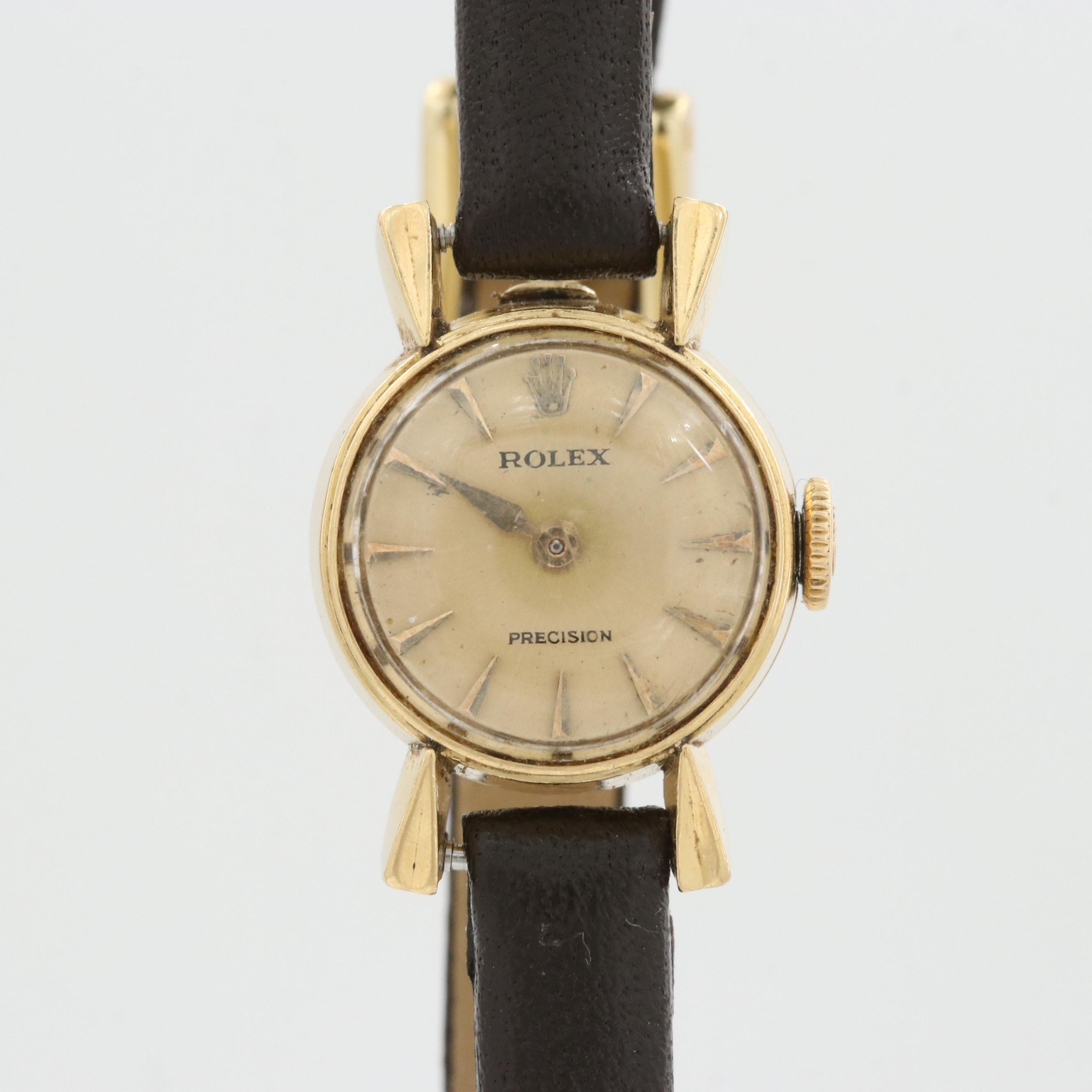 Vintage Rolex Precision Cocktail 18K Yellow Gold Stem Wind Wristwatch