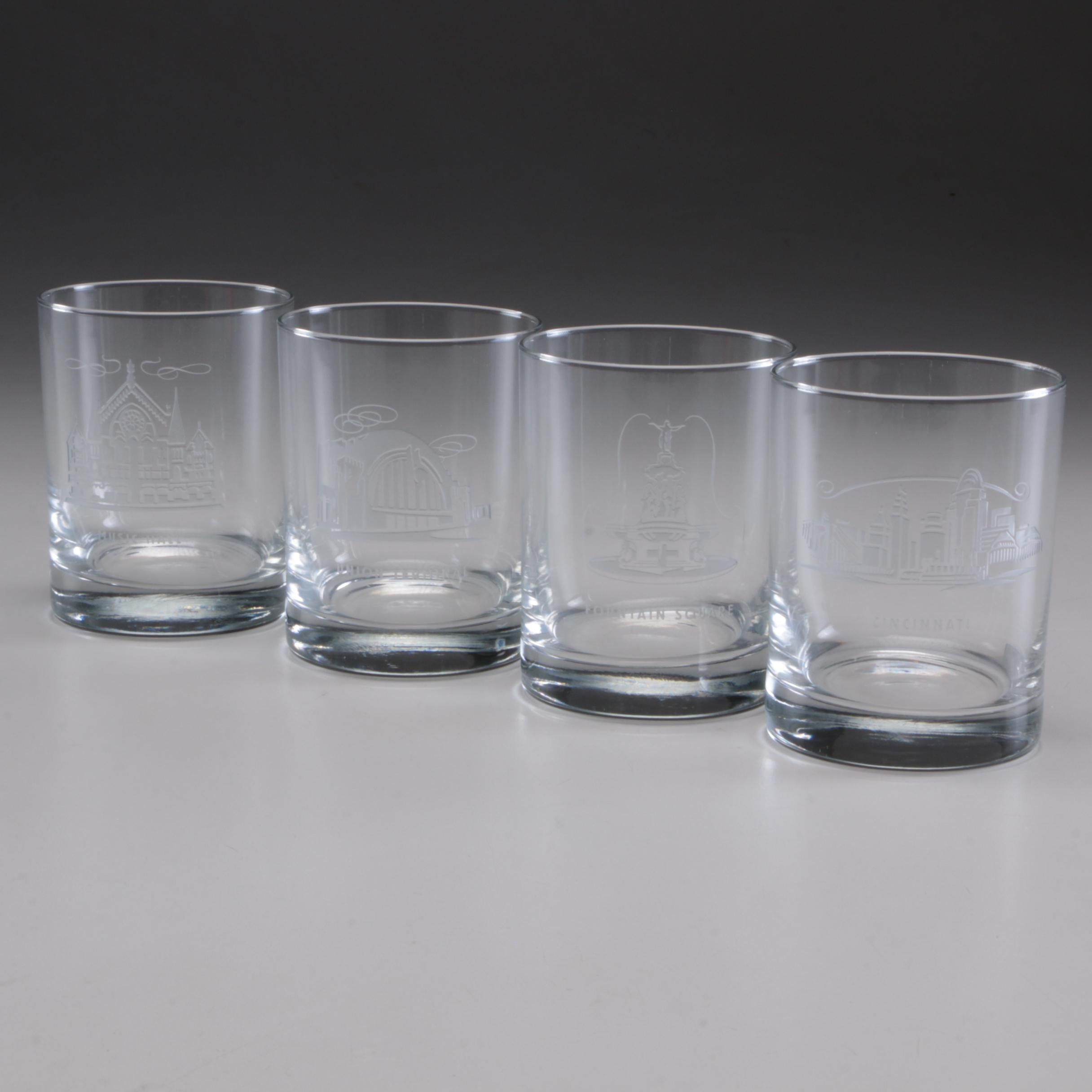 Sterling Cut Glass Tumblers Etched with Fountain Square, Late 20th Century