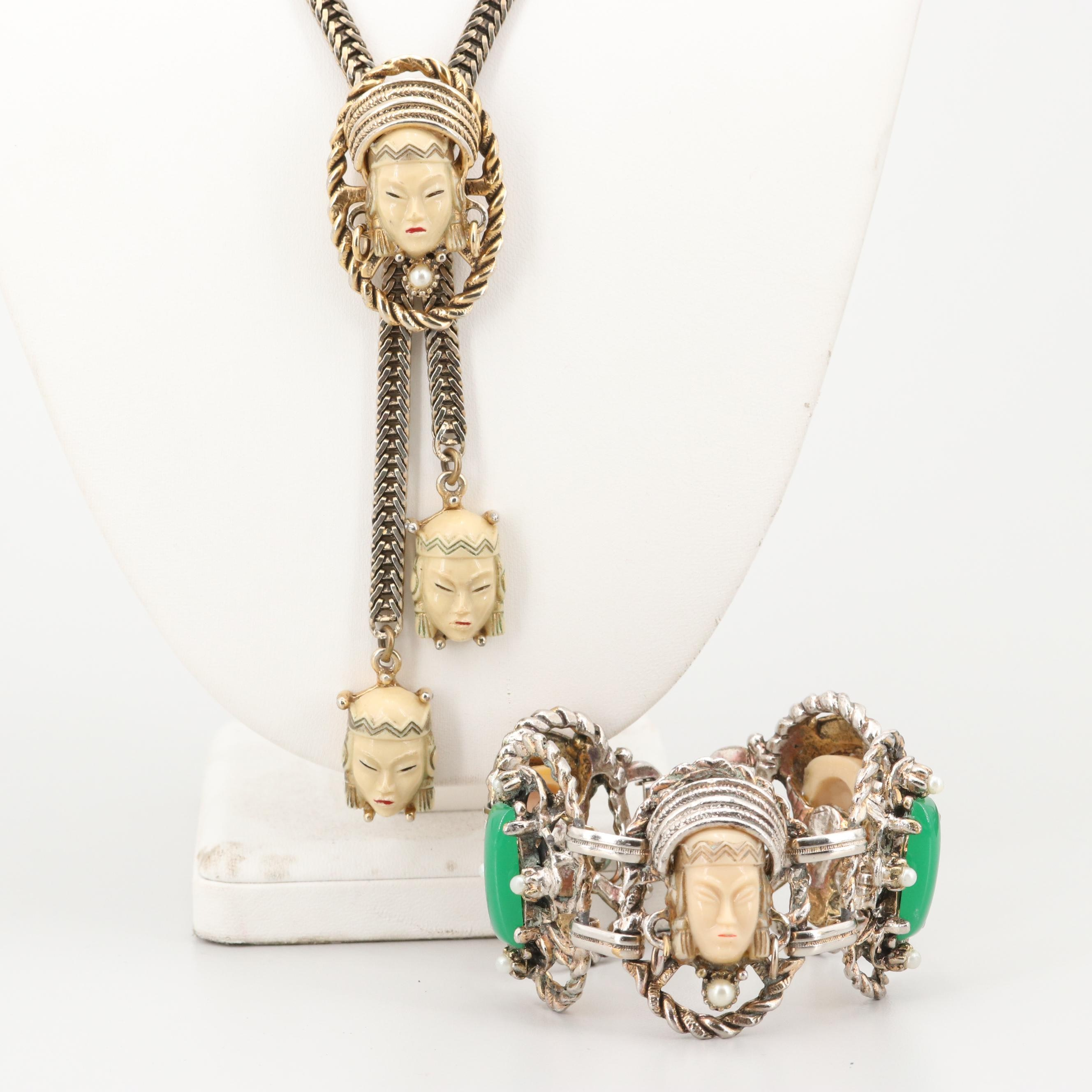 1960s Chinese Inspired Brutalist Necklace and Bracelet