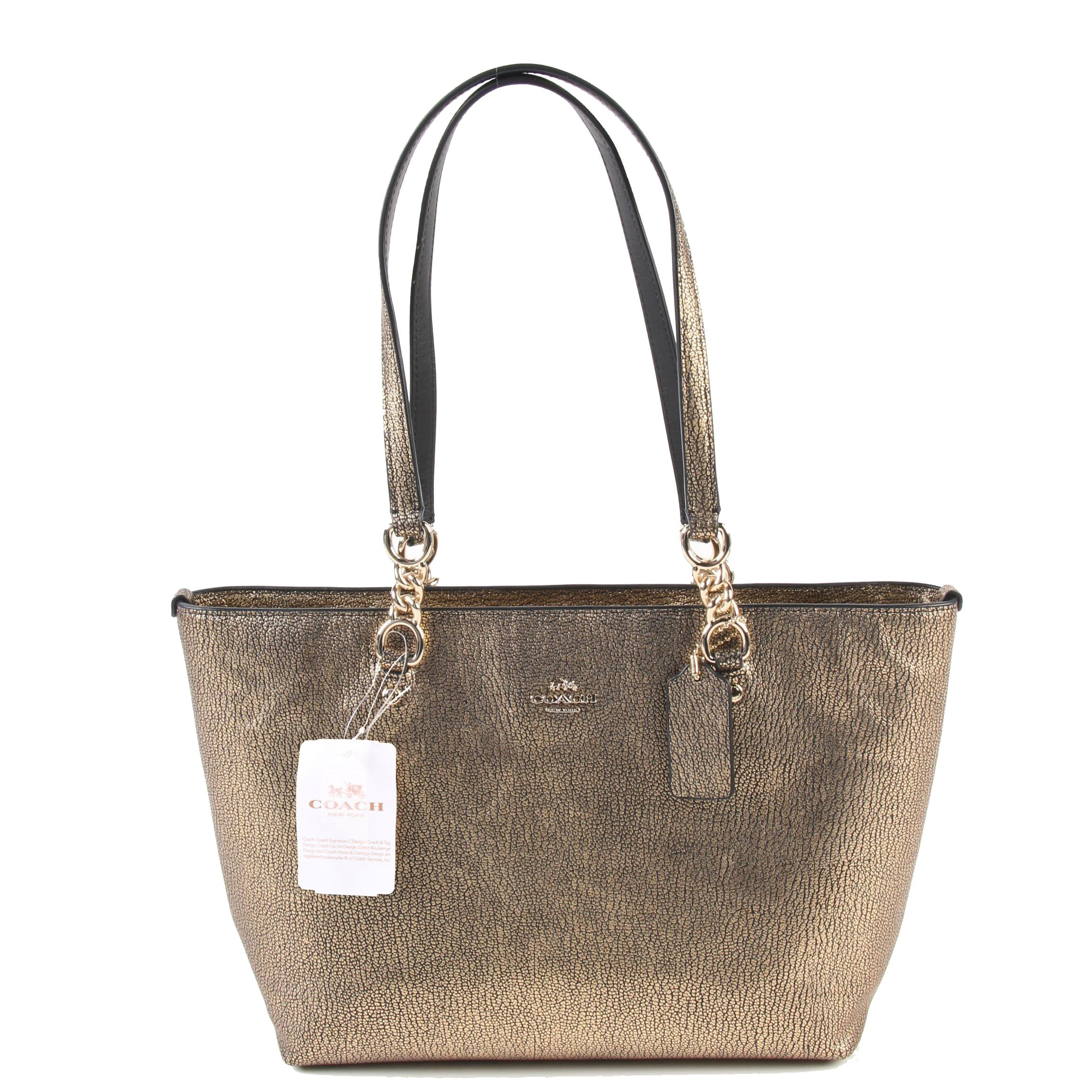 Coach New York Small Sophia Tote in Metallic Gold on Black Pebbled Leather