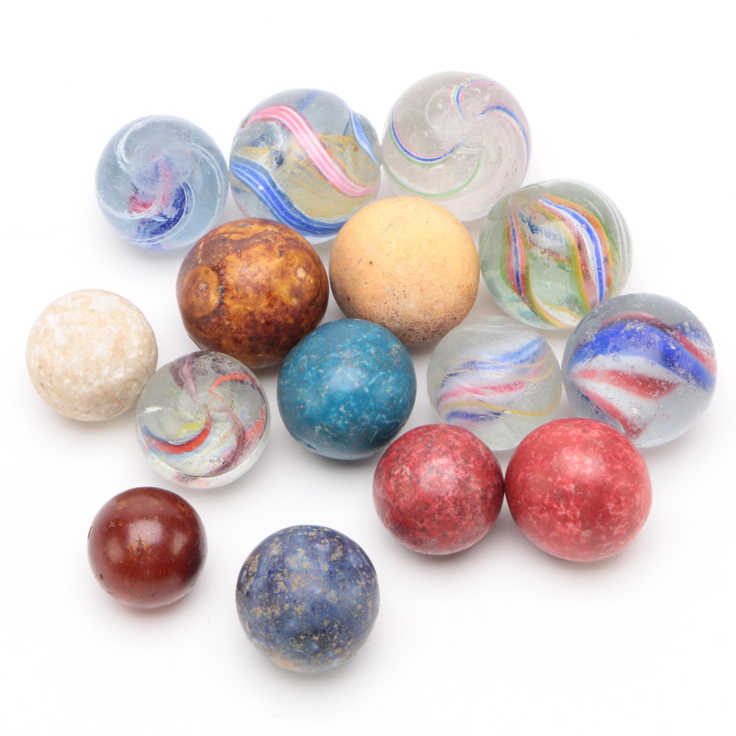 Glass Ribbon Core, Latticino Swirl, and Bennington Marbles, Vintage