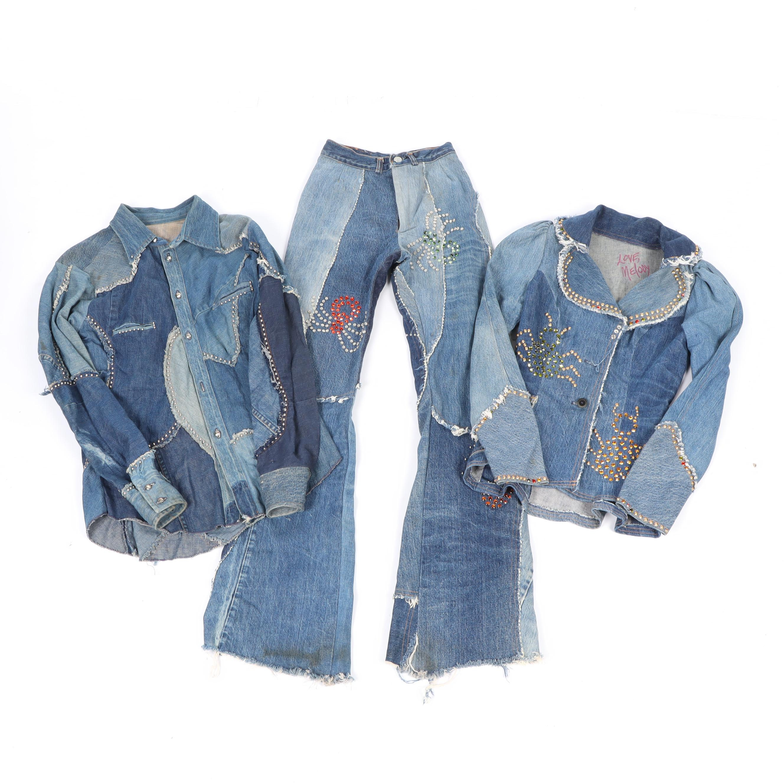 Love Melody Embellished Custom Patchwork Studded Denim Jackets and Jeans, 1970s