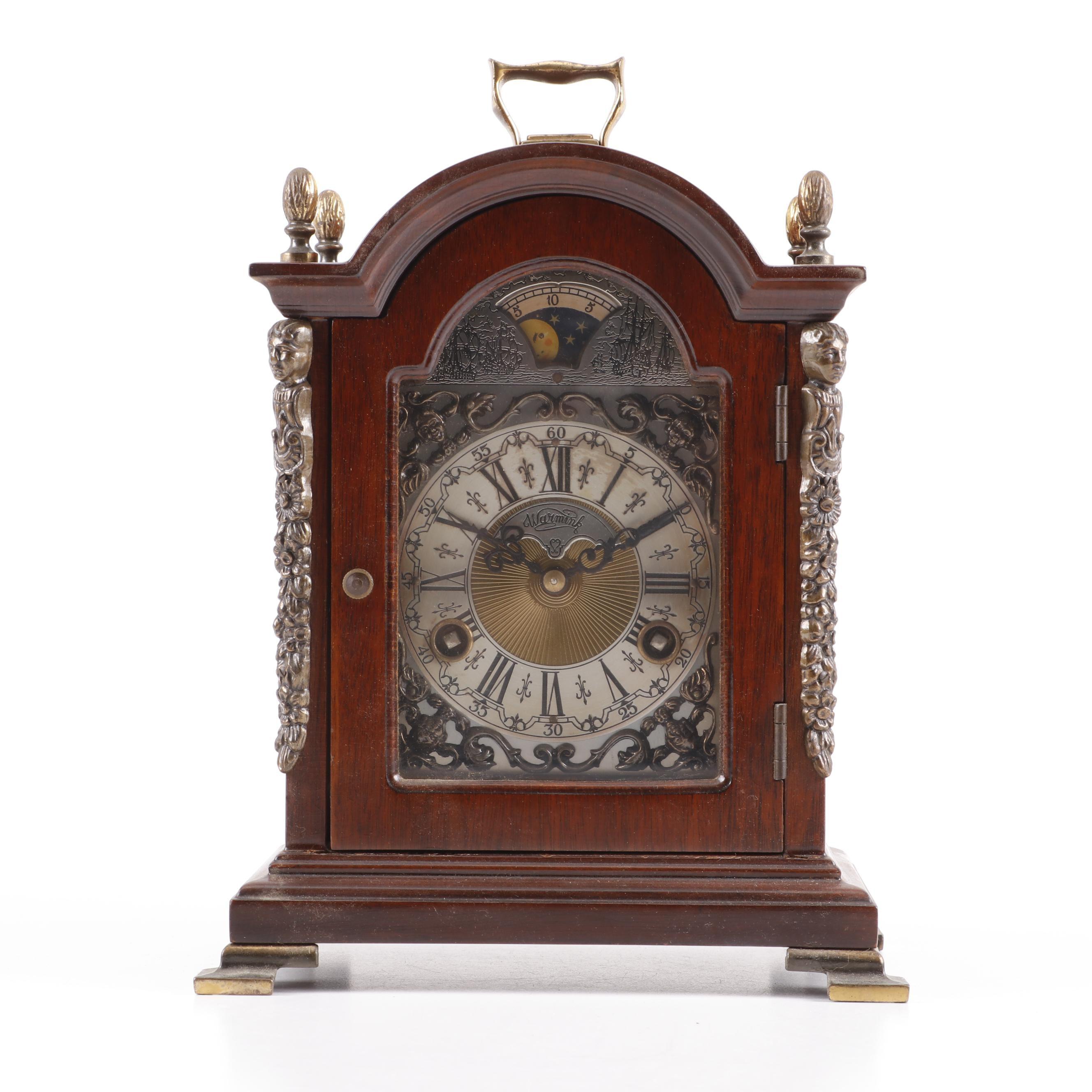 Warmink Wuba Moon Phase Mantel Clock, Mid Century