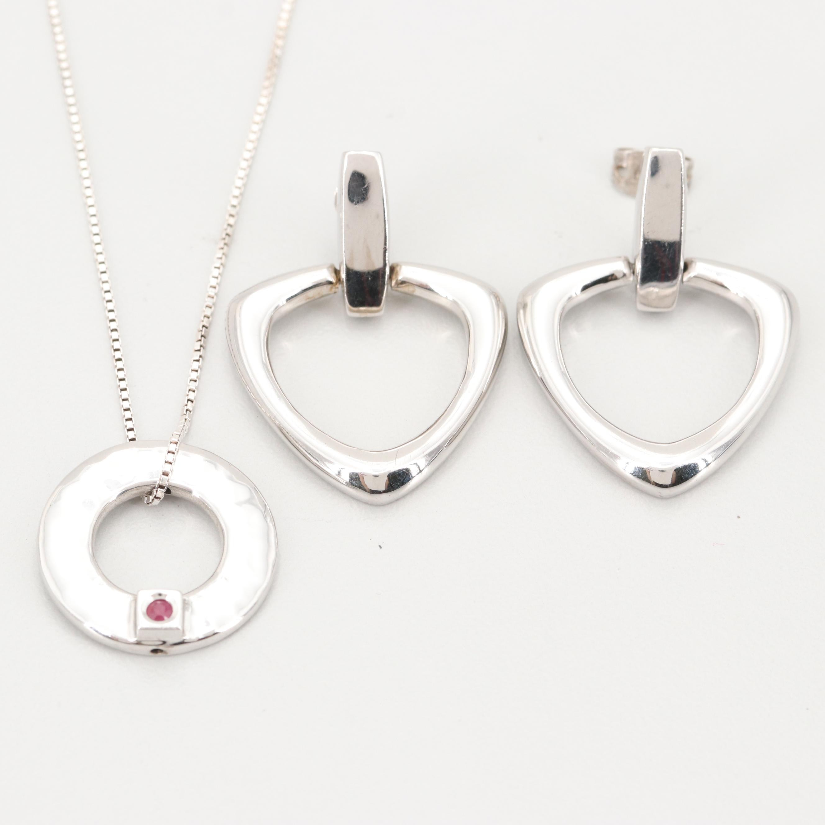 Elle Sterling Silver and Ruby Necklace and Earrings