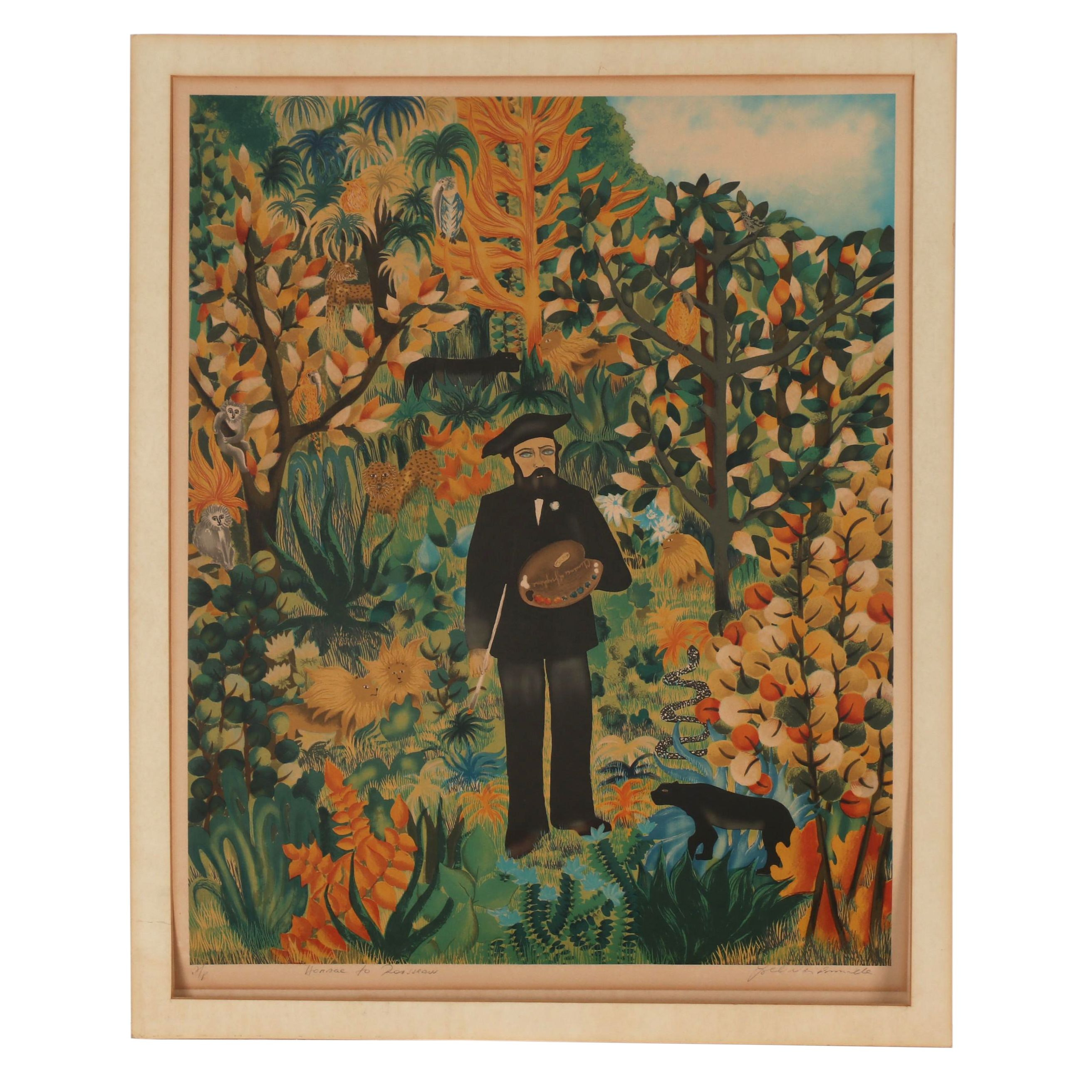 """Ivel Weihmiller Lithograph """"Homage to Rousseau"""""""