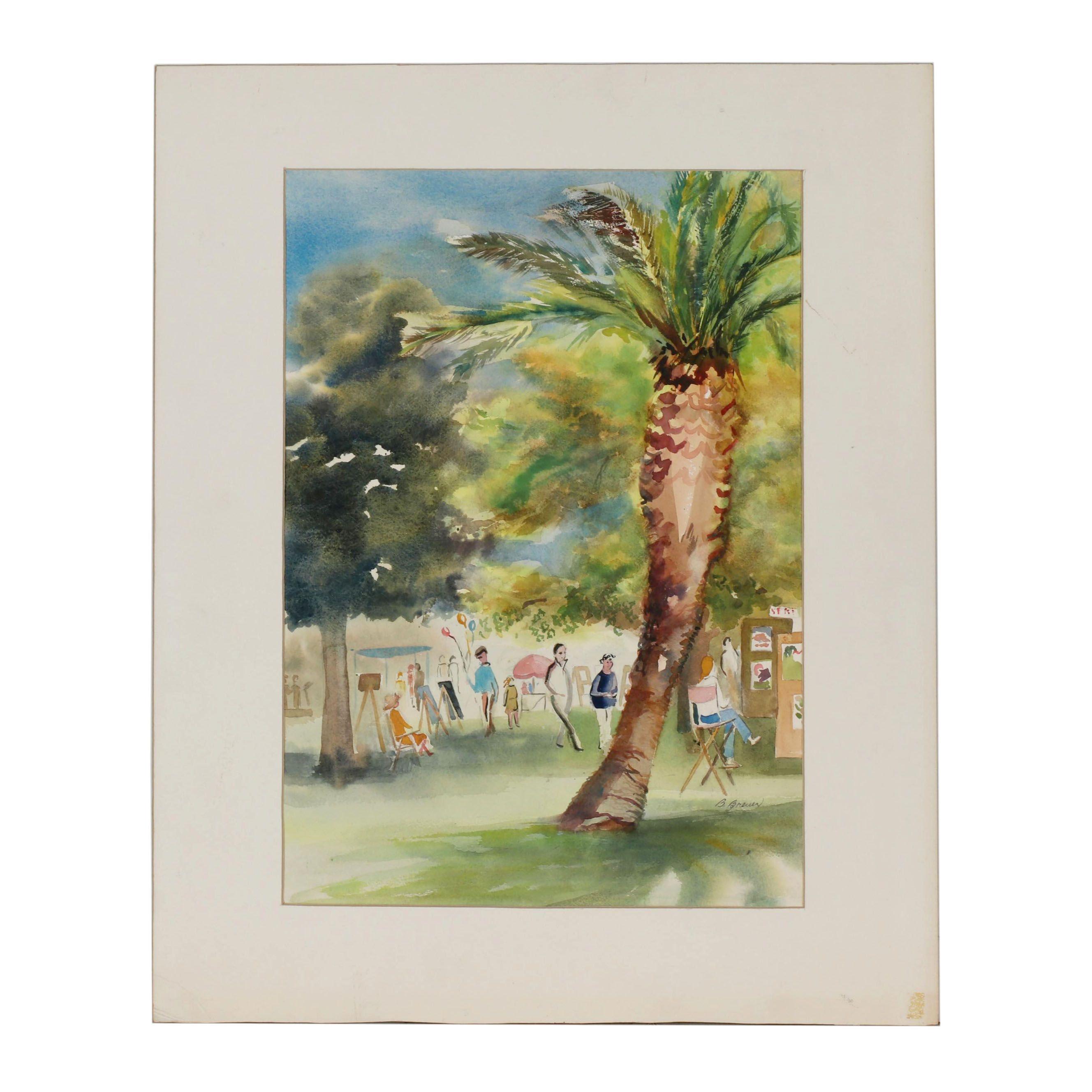 B. Breuer Watercolor Painting of Park Scene