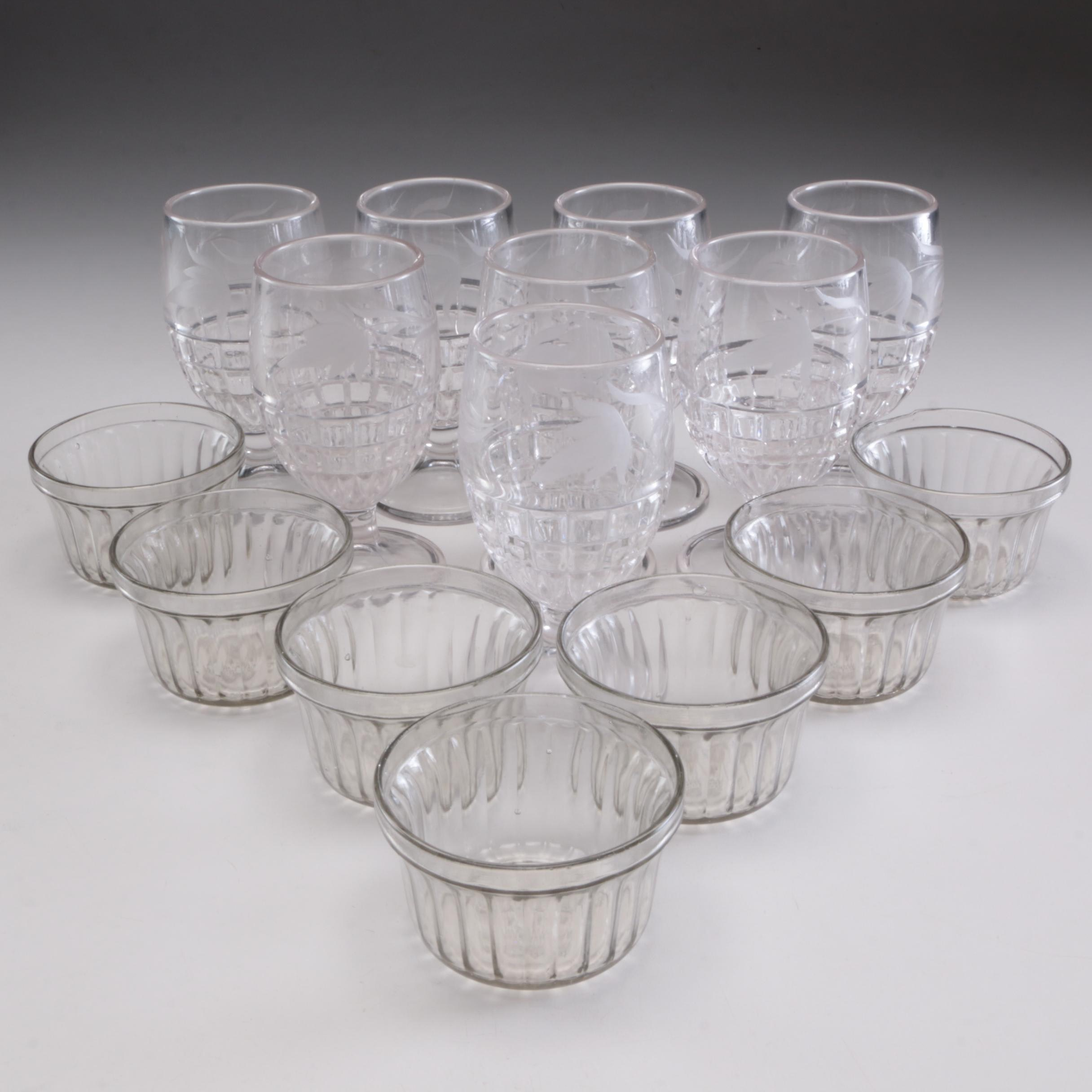 Kerr Glass Co. Jamblers and Etched Glass Water Goblets, Mid-Century