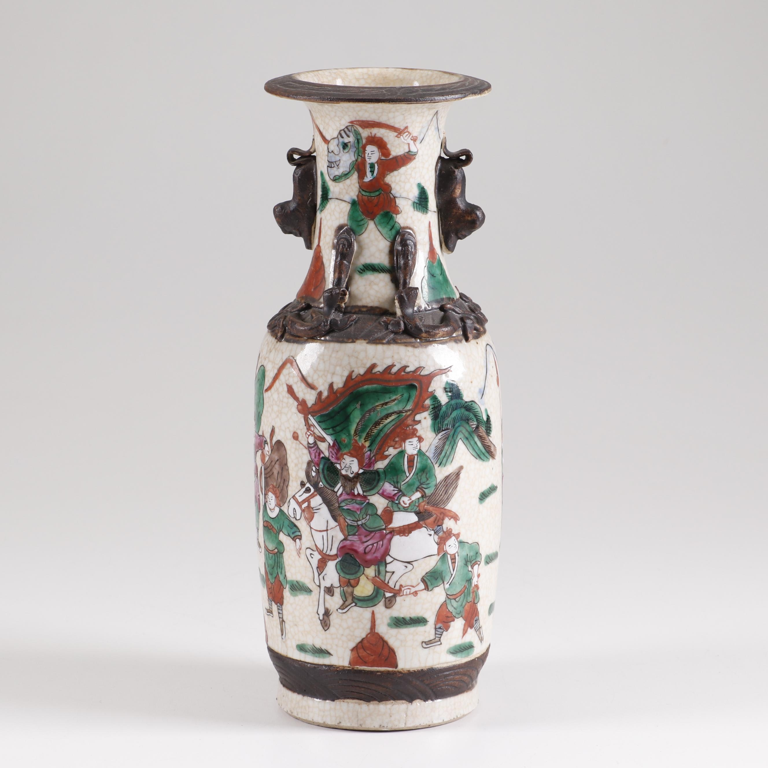 Nanking Warrior Motif Japanese Kutani Vase, 19th Century