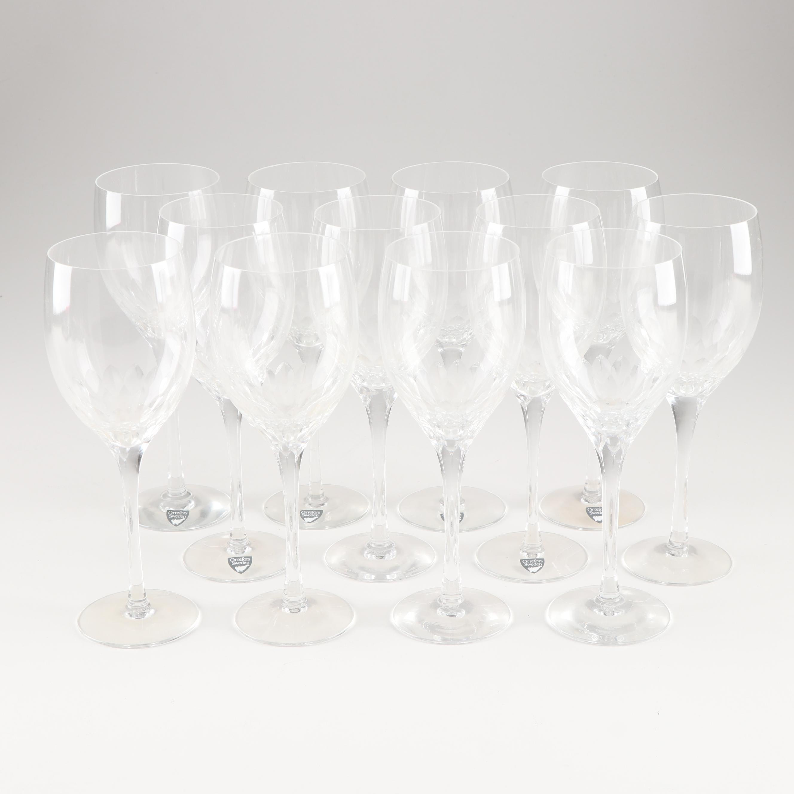 Orrefors Sweden Glass Stemware Grouping