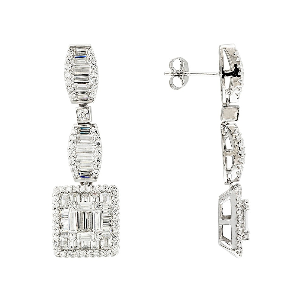 Sterling Silver Diamond Simulant Earrings