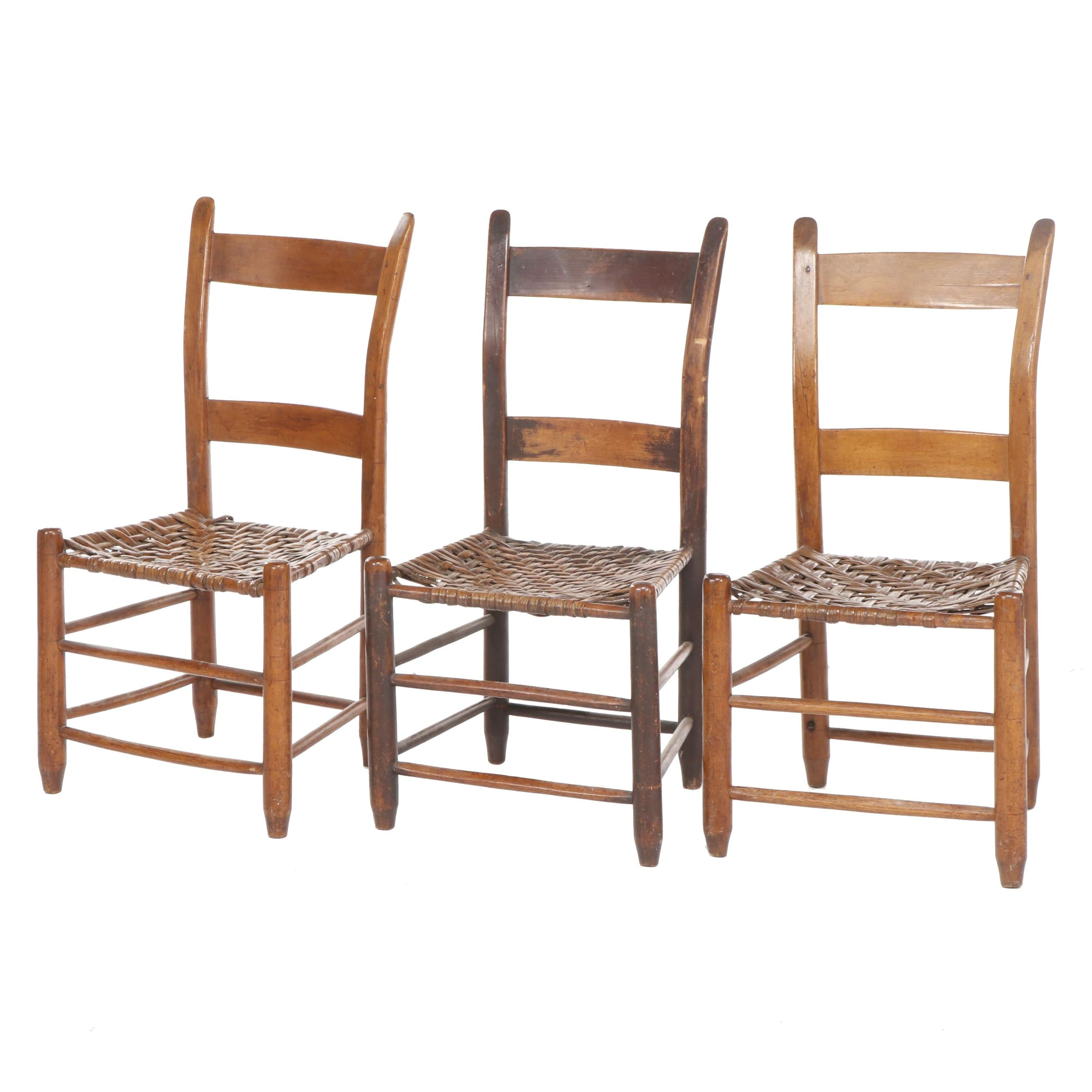 Three American Primitive Wooden Side Chairs with Woven Splint Seats, Mid-19th C