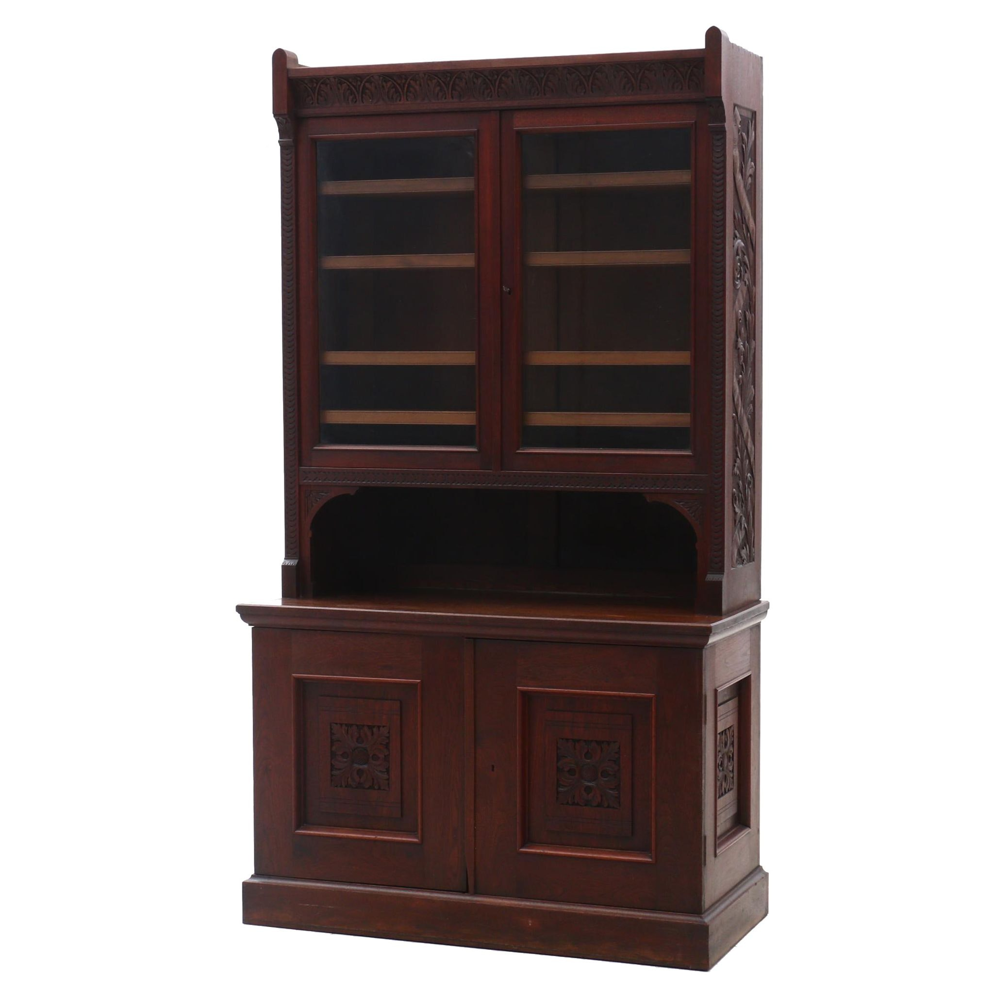 Cincinnati Art Carved Walnut Bookcase, Circa 1880
