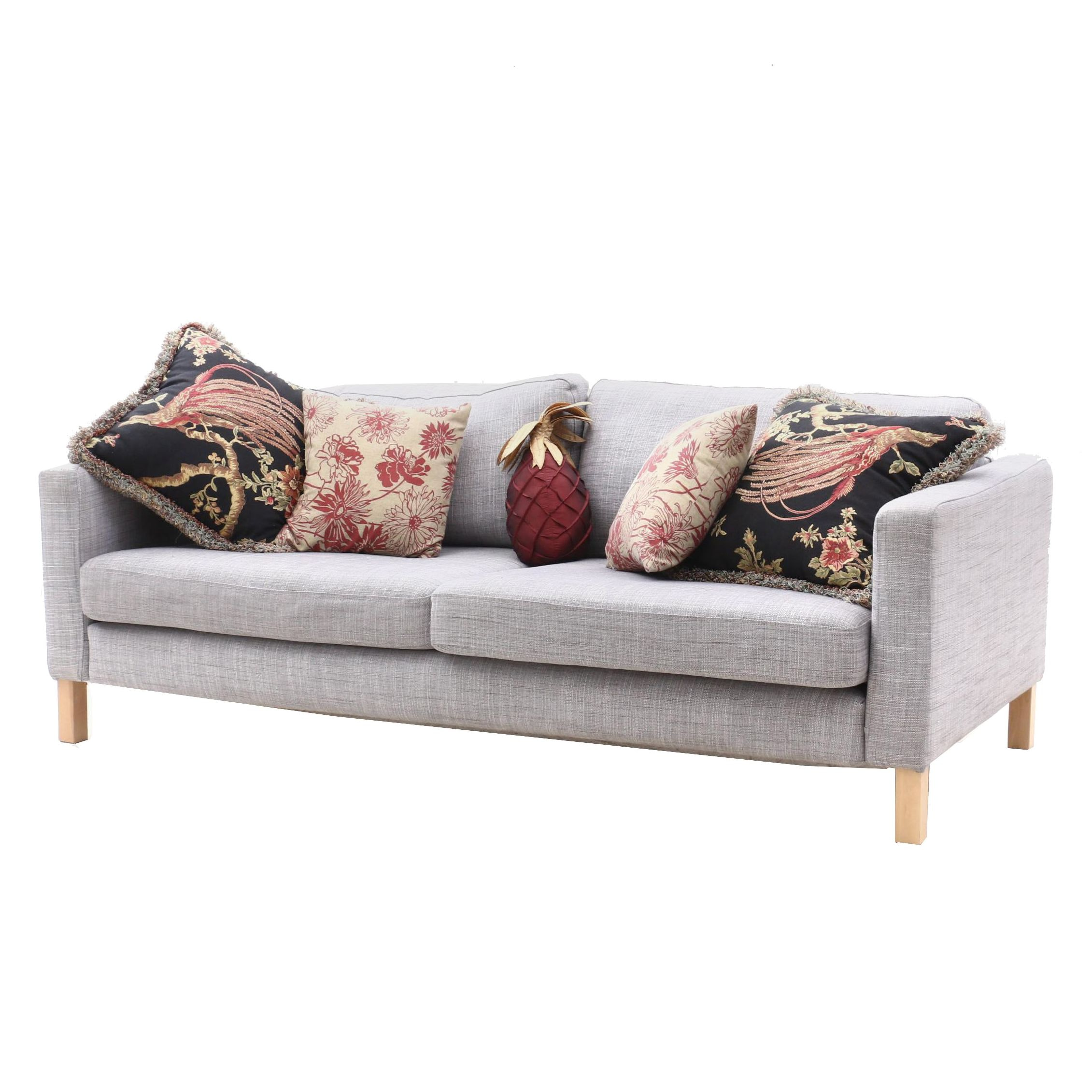 Contemporary Sofa with Throw Pillows By Ikea