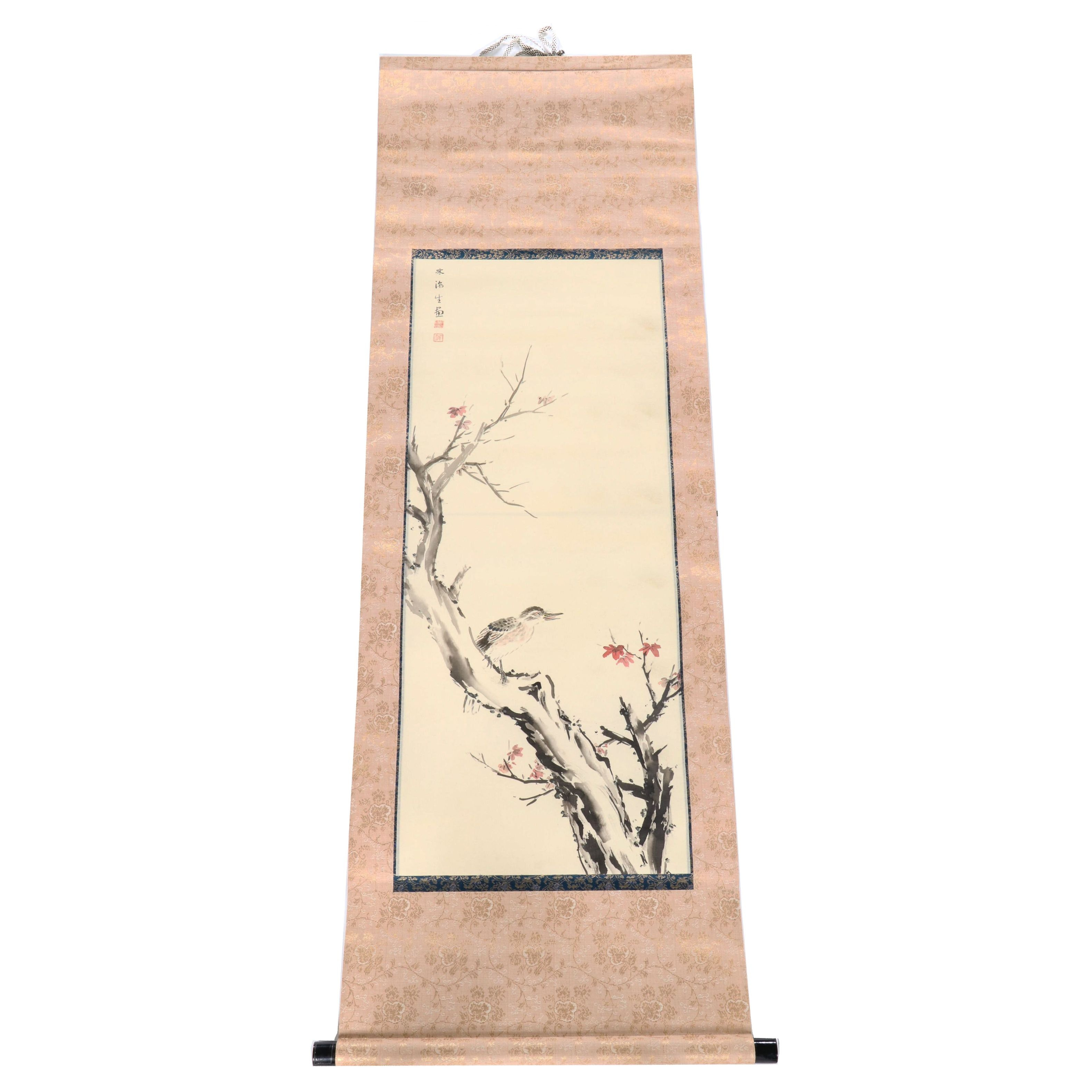 East Asian Ink and Watercolor Painting of Birds on Scroll