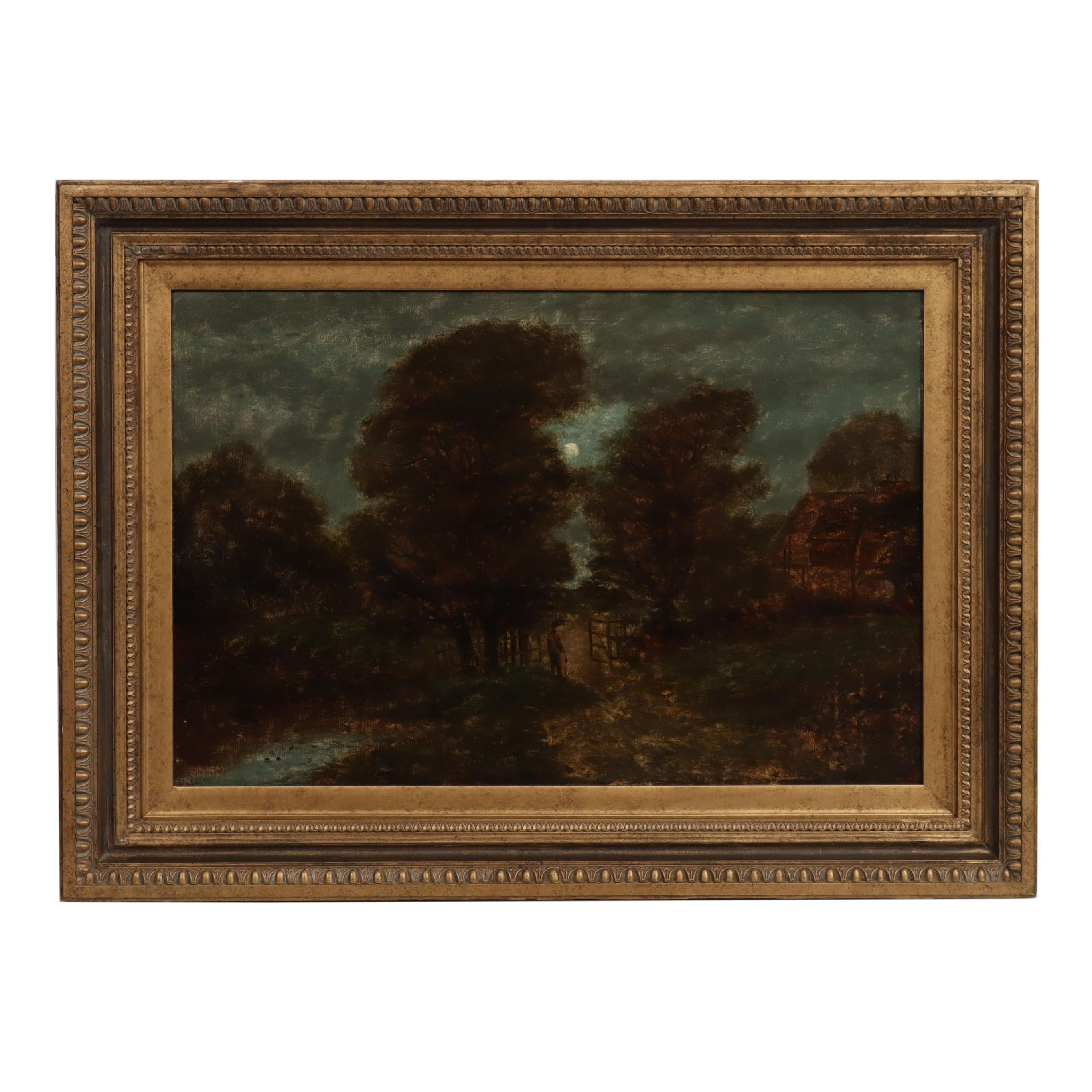 19th Century Moonlight Landscape Oil Painting