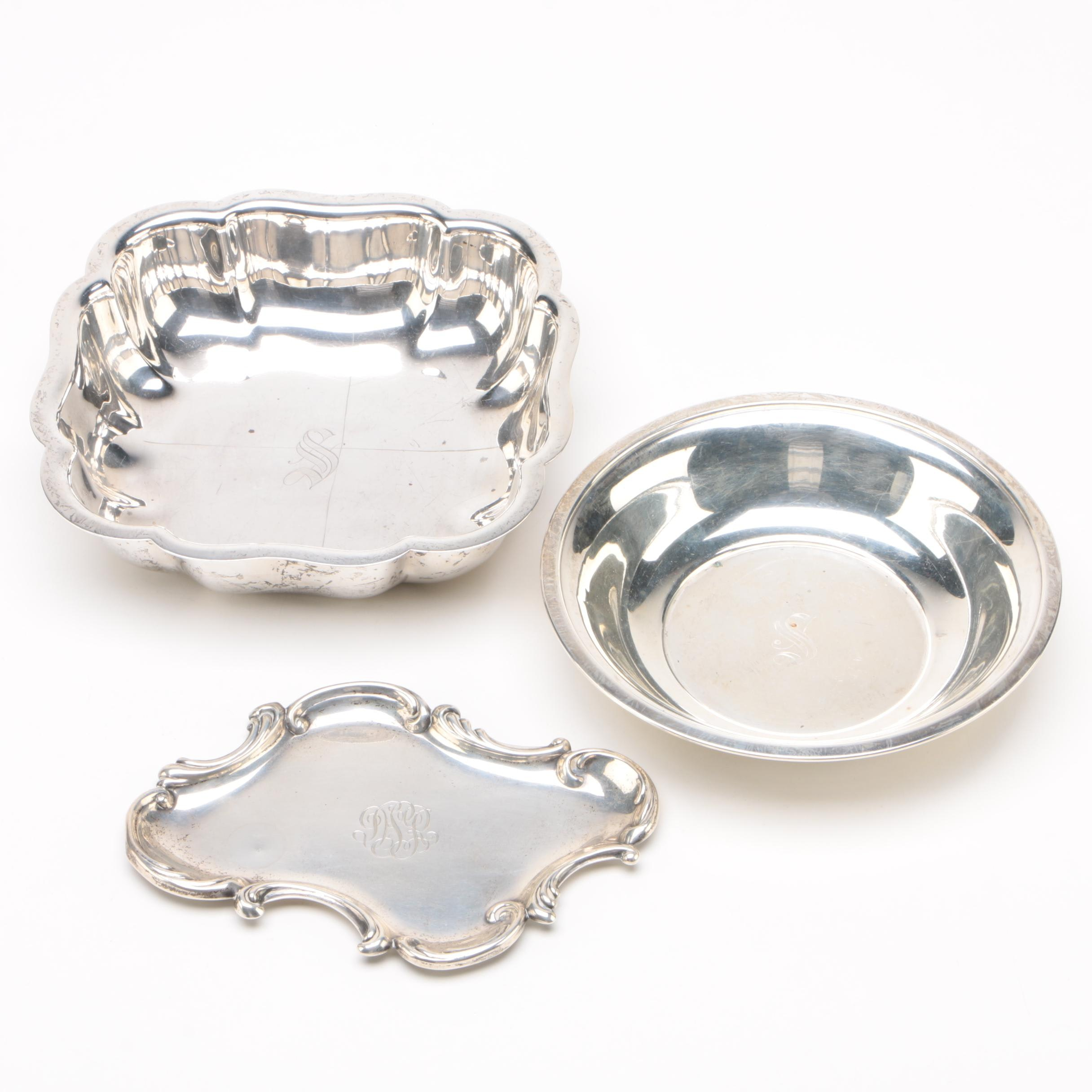 Sterling Silver Bowls and Small Vanity Tray