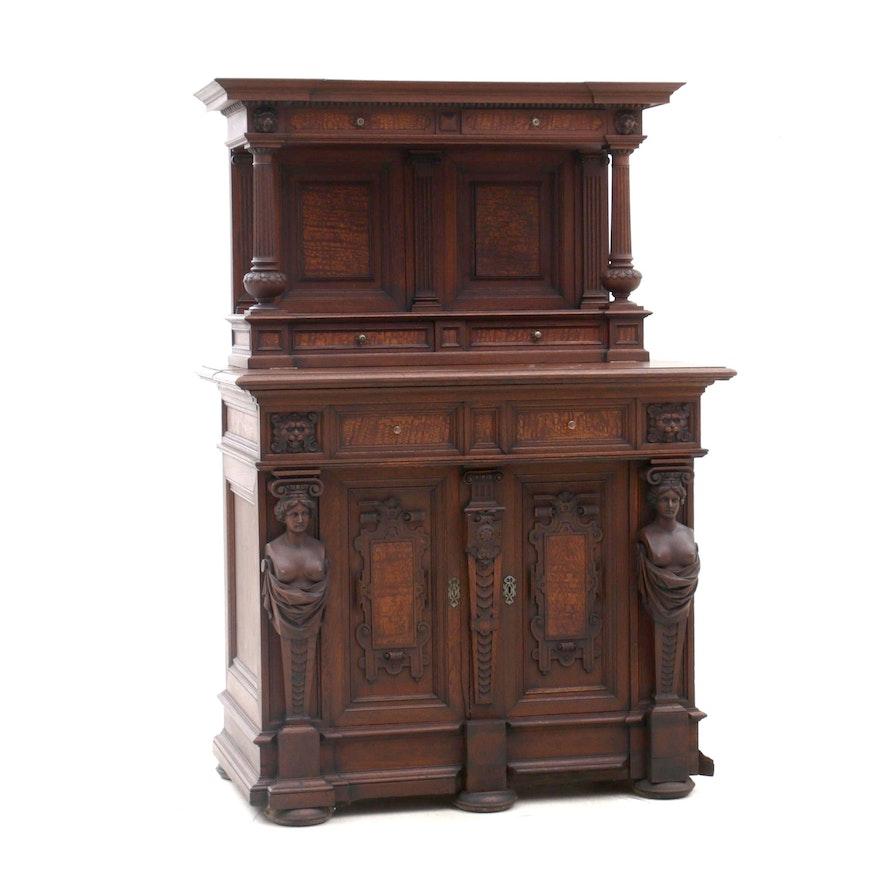 Italian Renaissance Style Oak Court Cupboard, Late 19th Century
