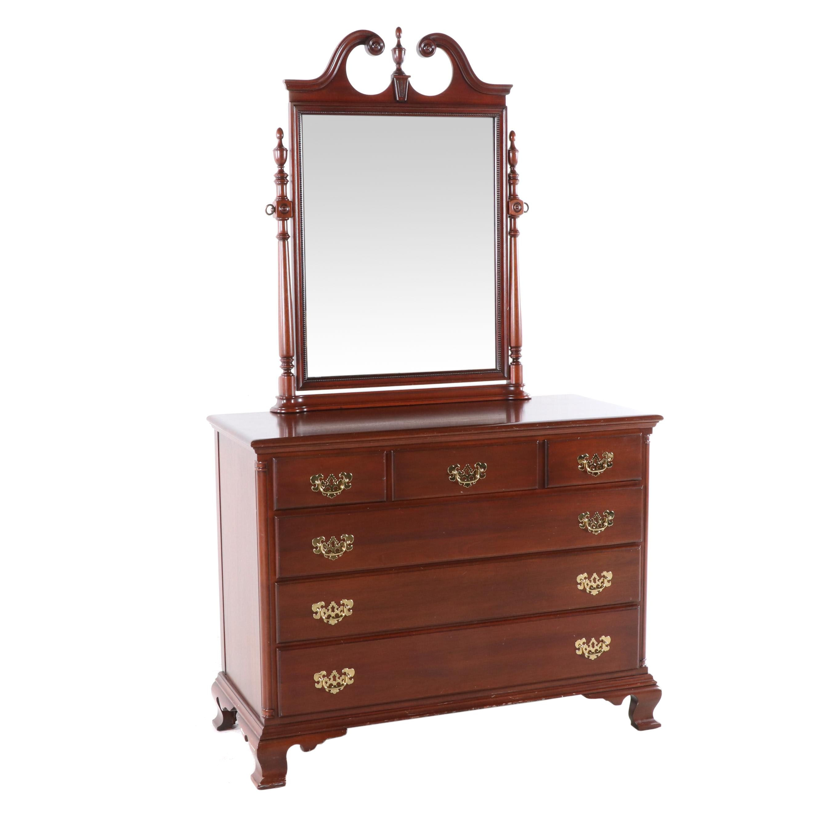 The Continental Furniture Co. Federal Mahogany Chest of Drawers With Mirror