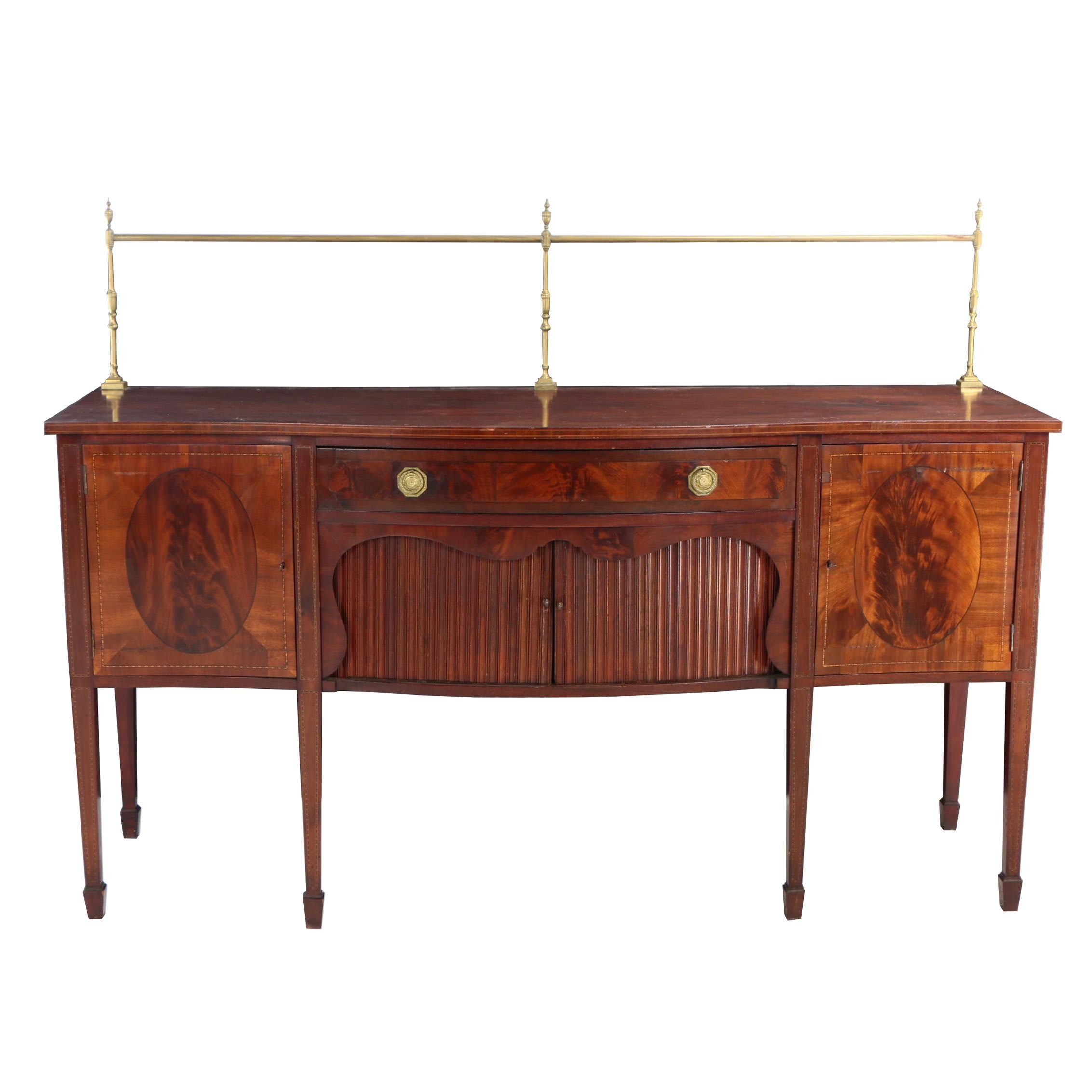George III Style Brass-Mounted and String-Inlaid Mahogany Sideboard