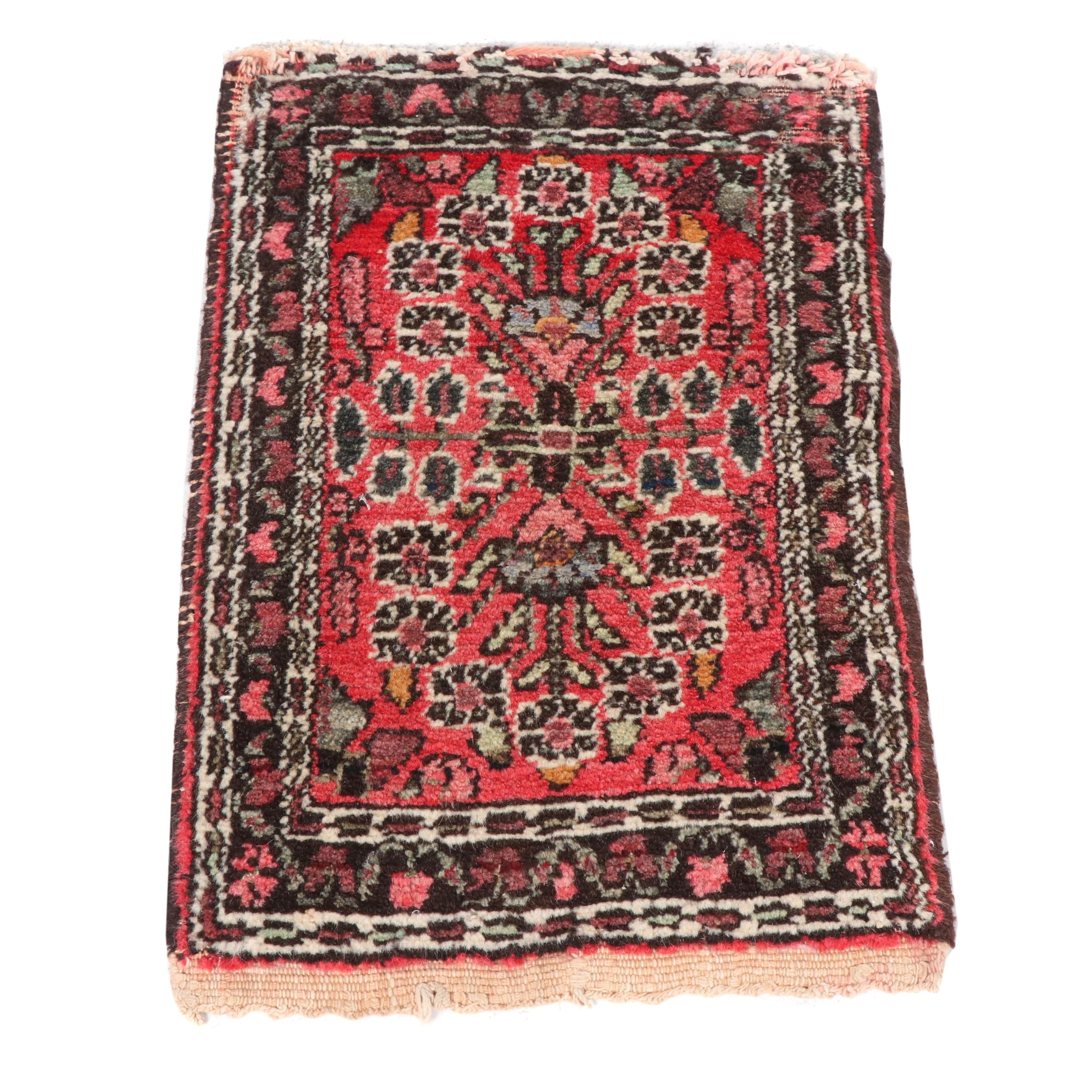Hand-Knotted Persian Hamadan Wool Bag Face
