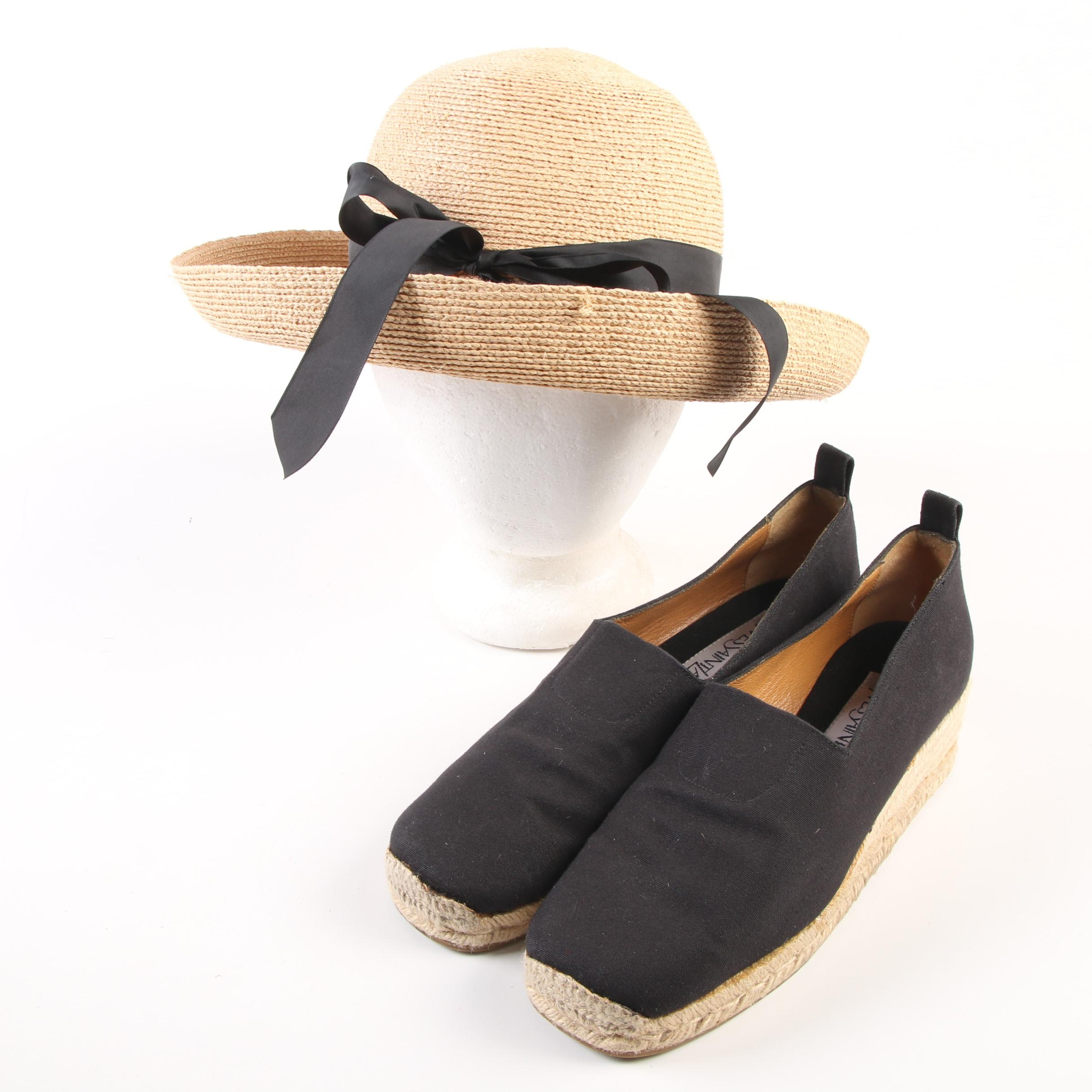 Yves Saint Laurent Espadrille Wedges and Annabel Ingall of Australia Straw Hat