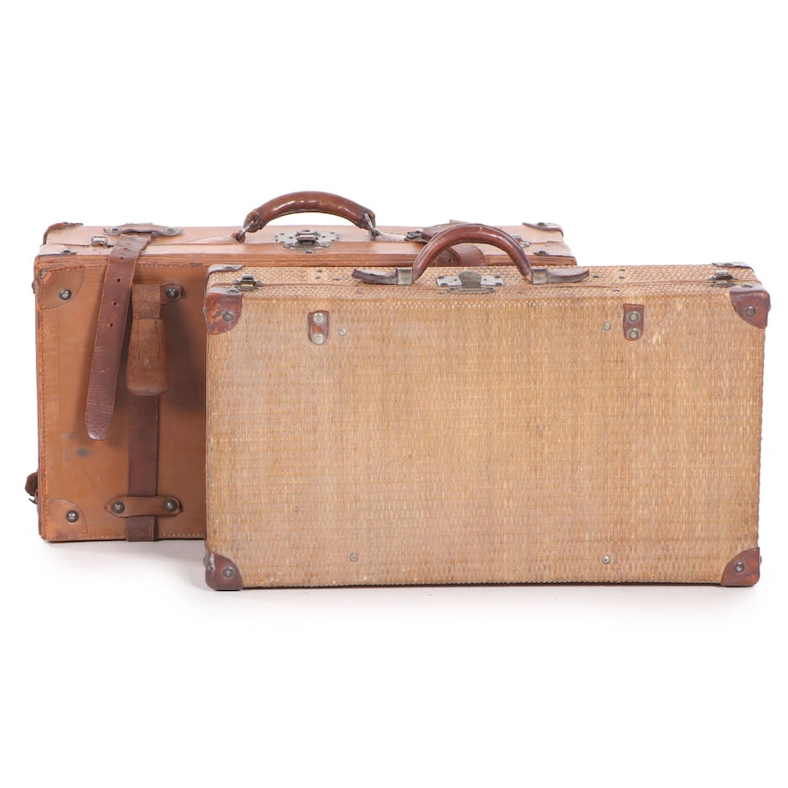Leather and Wicker Suitcases, Early 20th Century