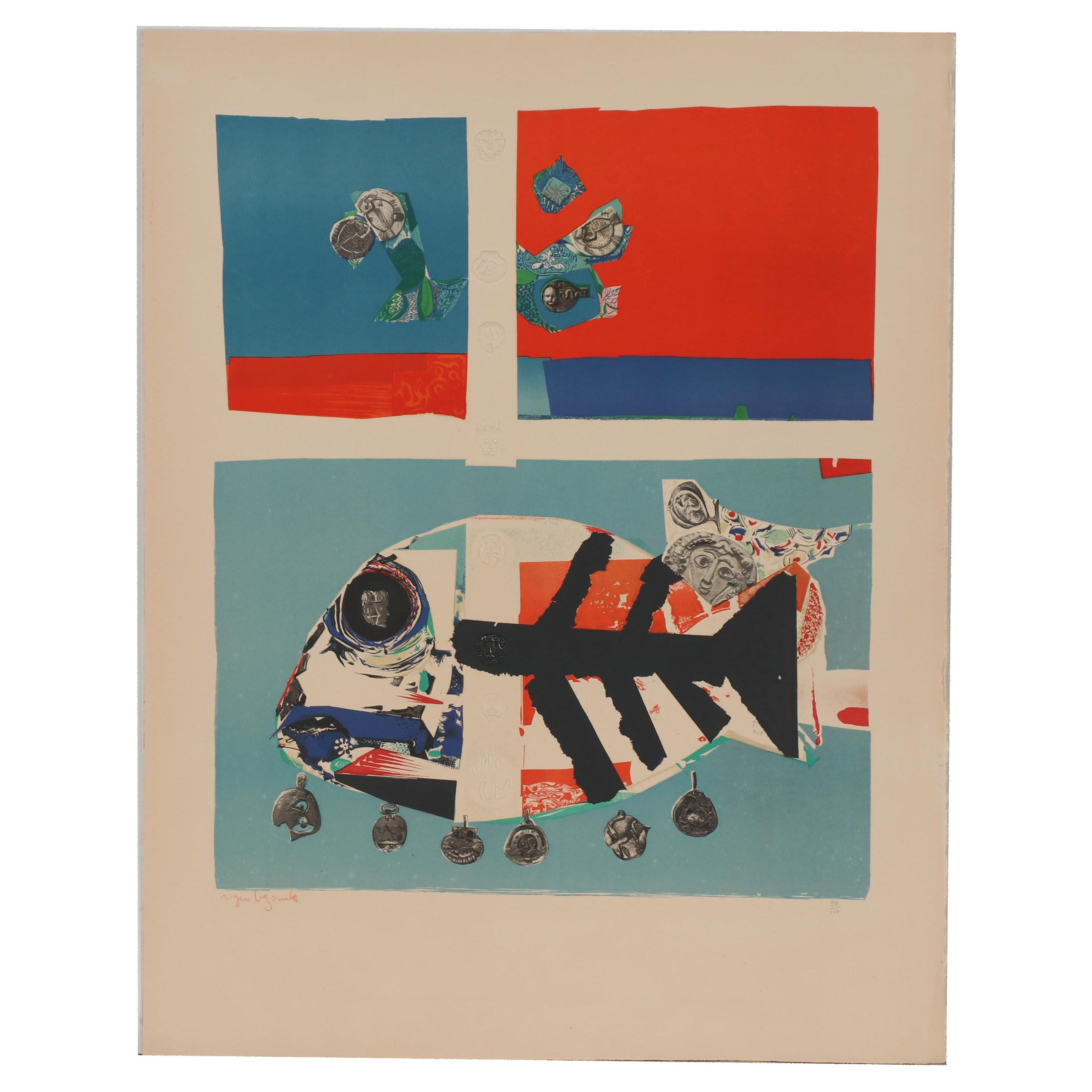 """Roger Bezombes Embossed Lithograph """"Poisson"""""""