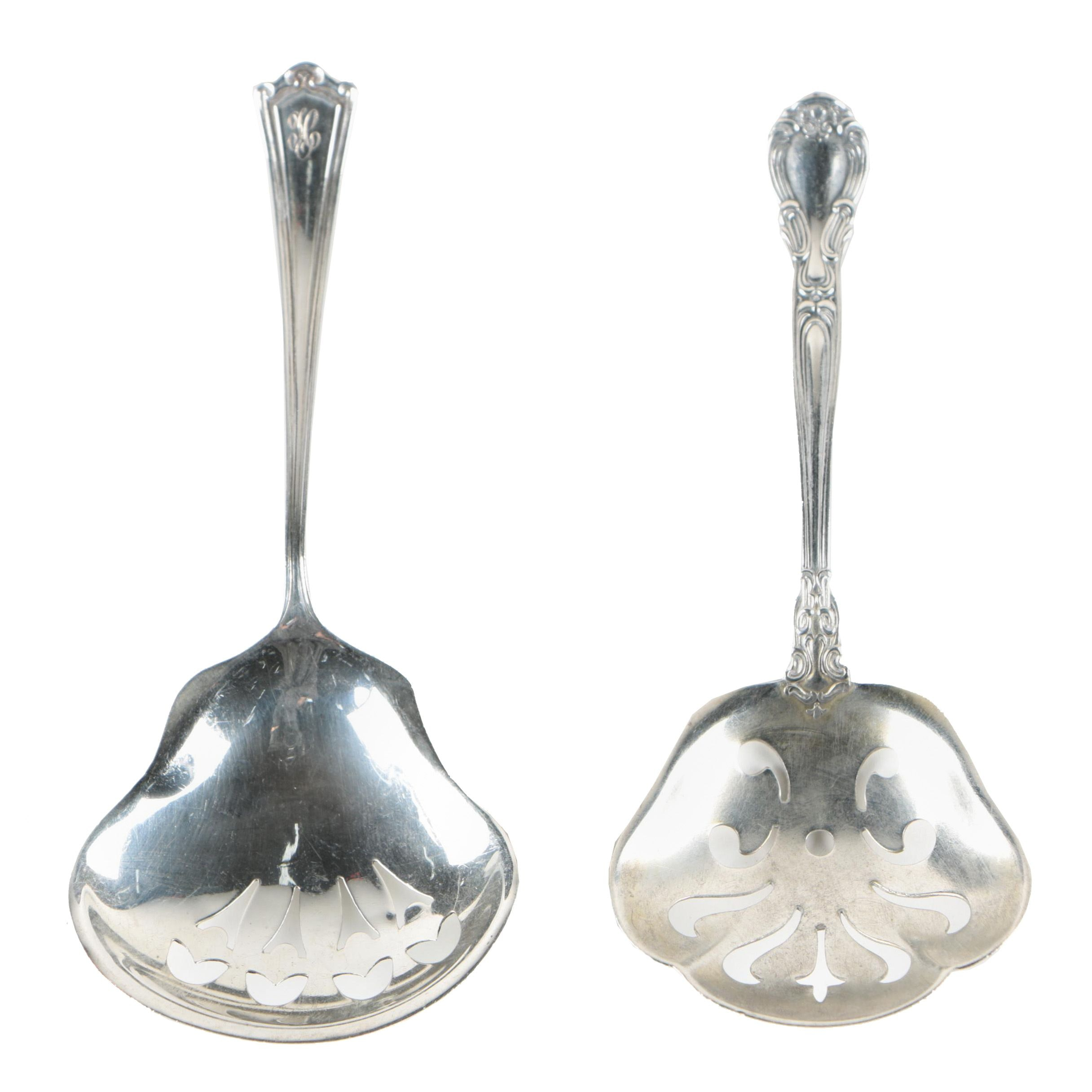 """Gorham """"Chantilly"""" Sterling Bonbon Spoon and Baker Manchester Nut Spoon"""