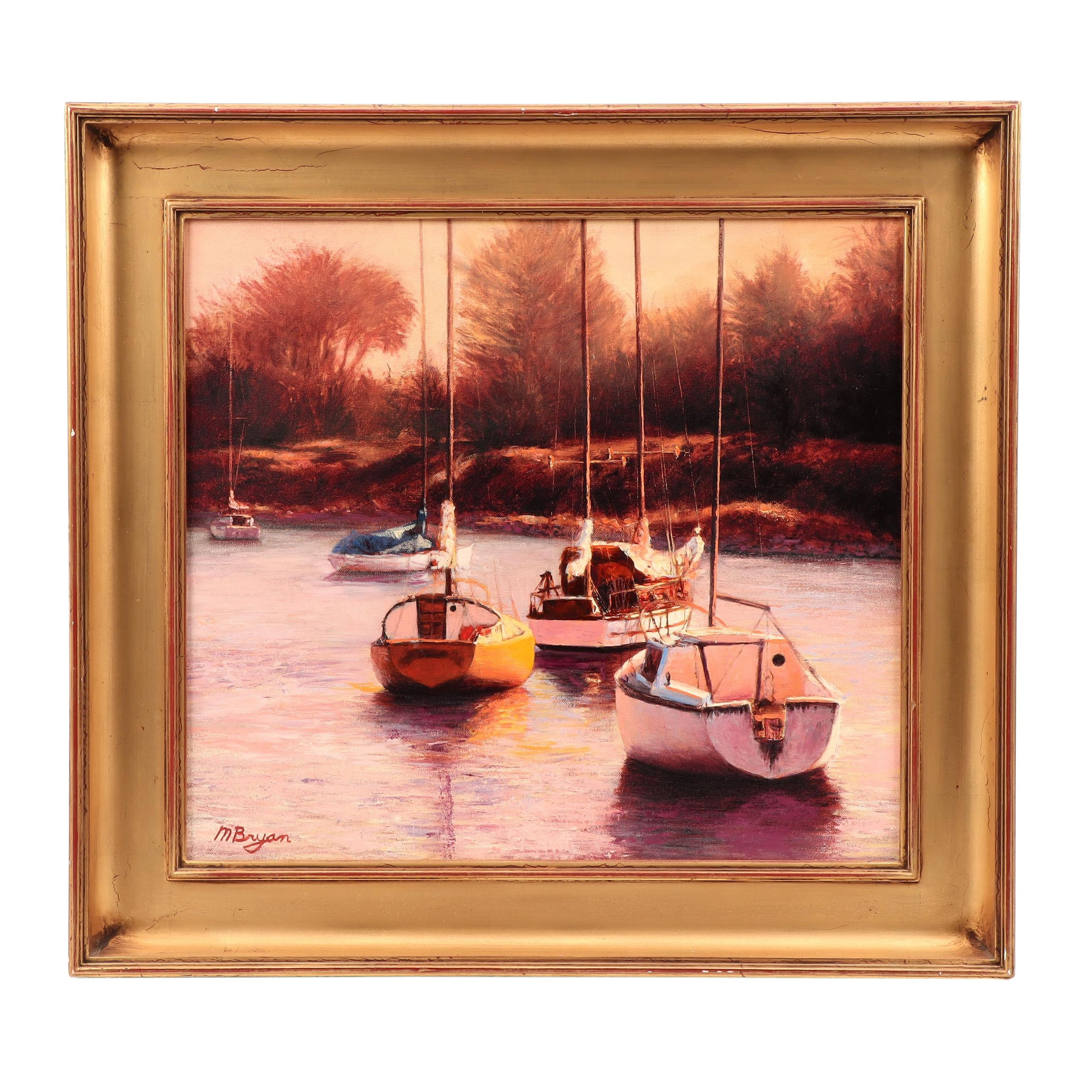 M. Bryan Oil Painting of Sailboats in Harbor
