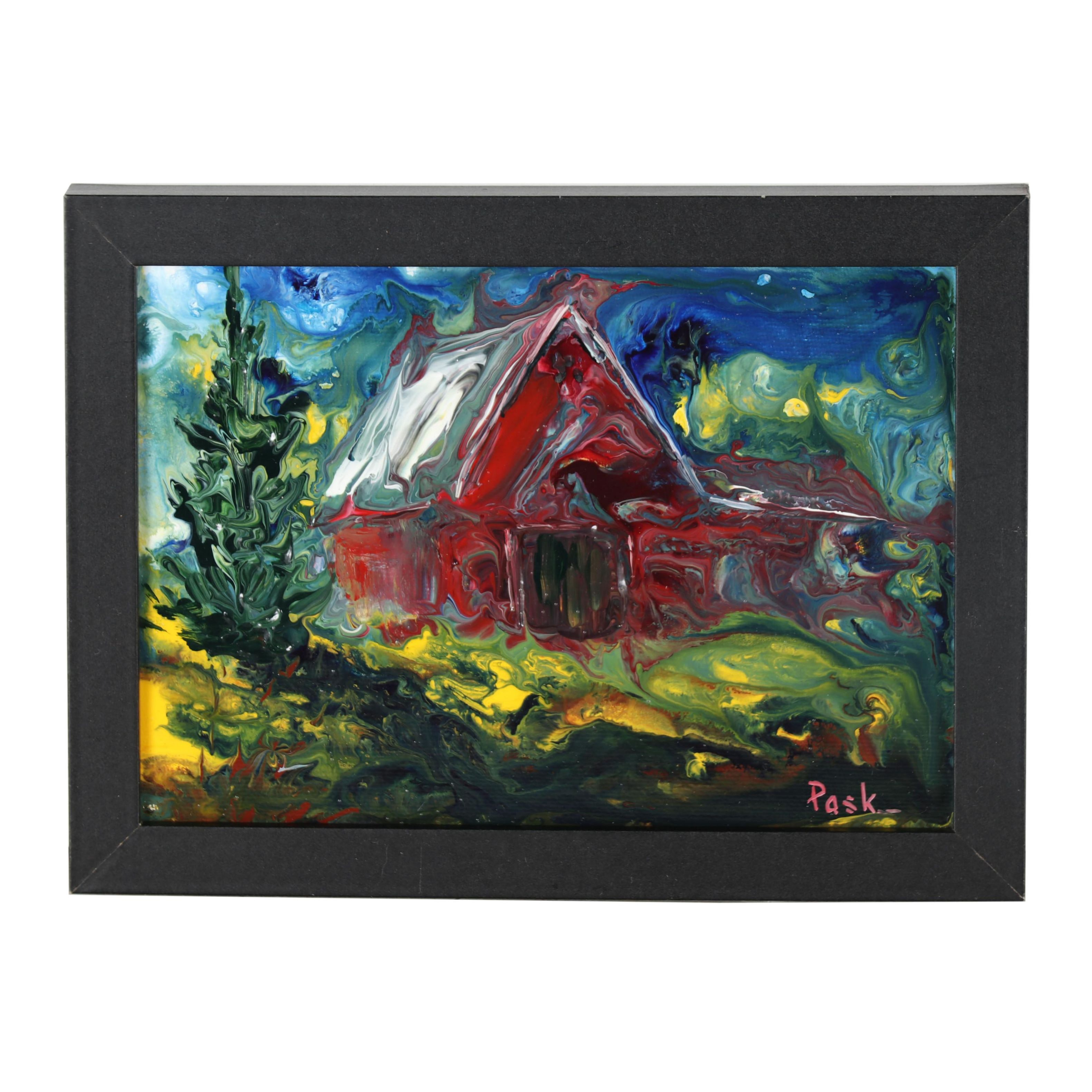 """Barbara Pask 2014 Abstract Acrylic Painting """"Old Red Barn"""""""