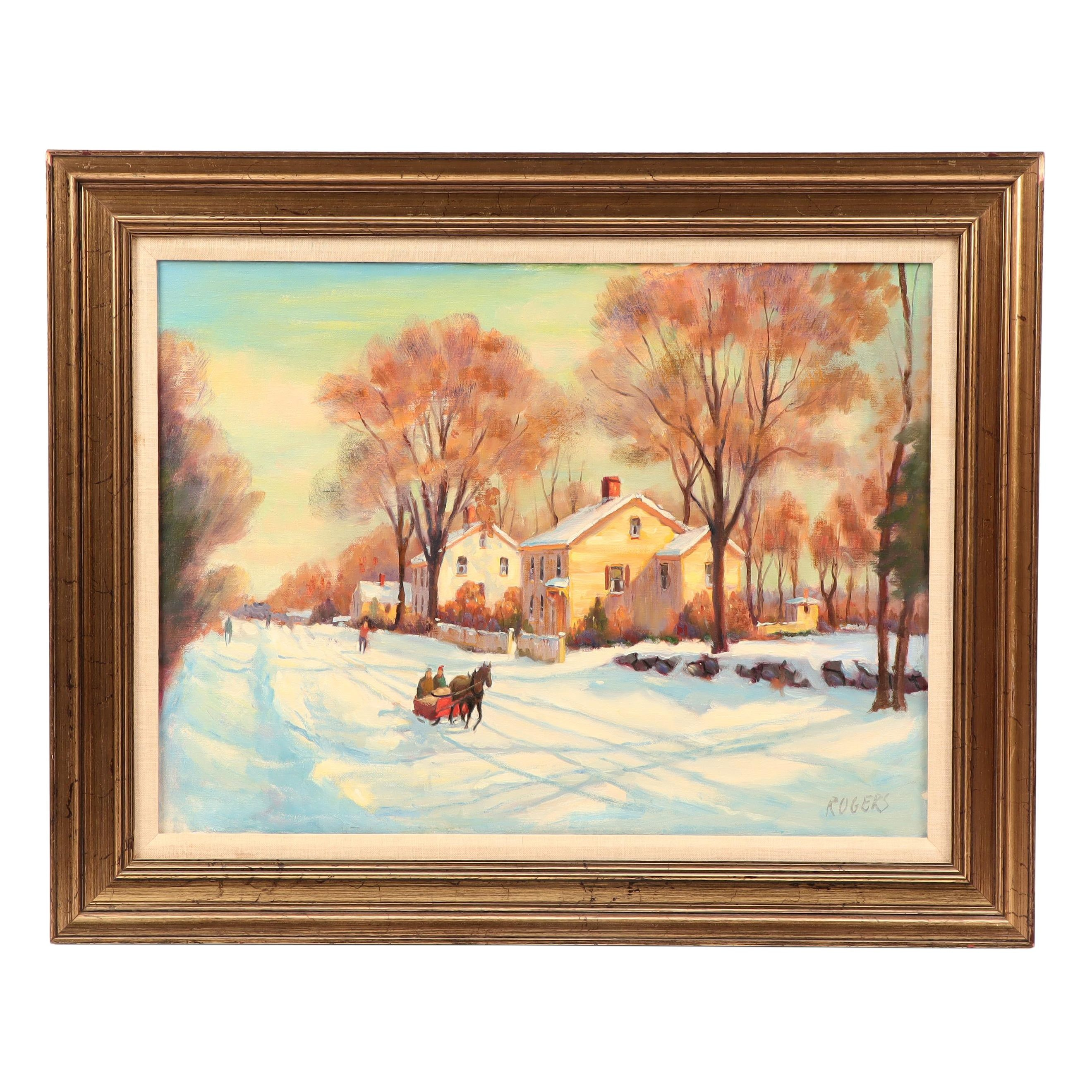 Rogers Oil Painting of Winter Village Scene with Horse Drawn Carriage