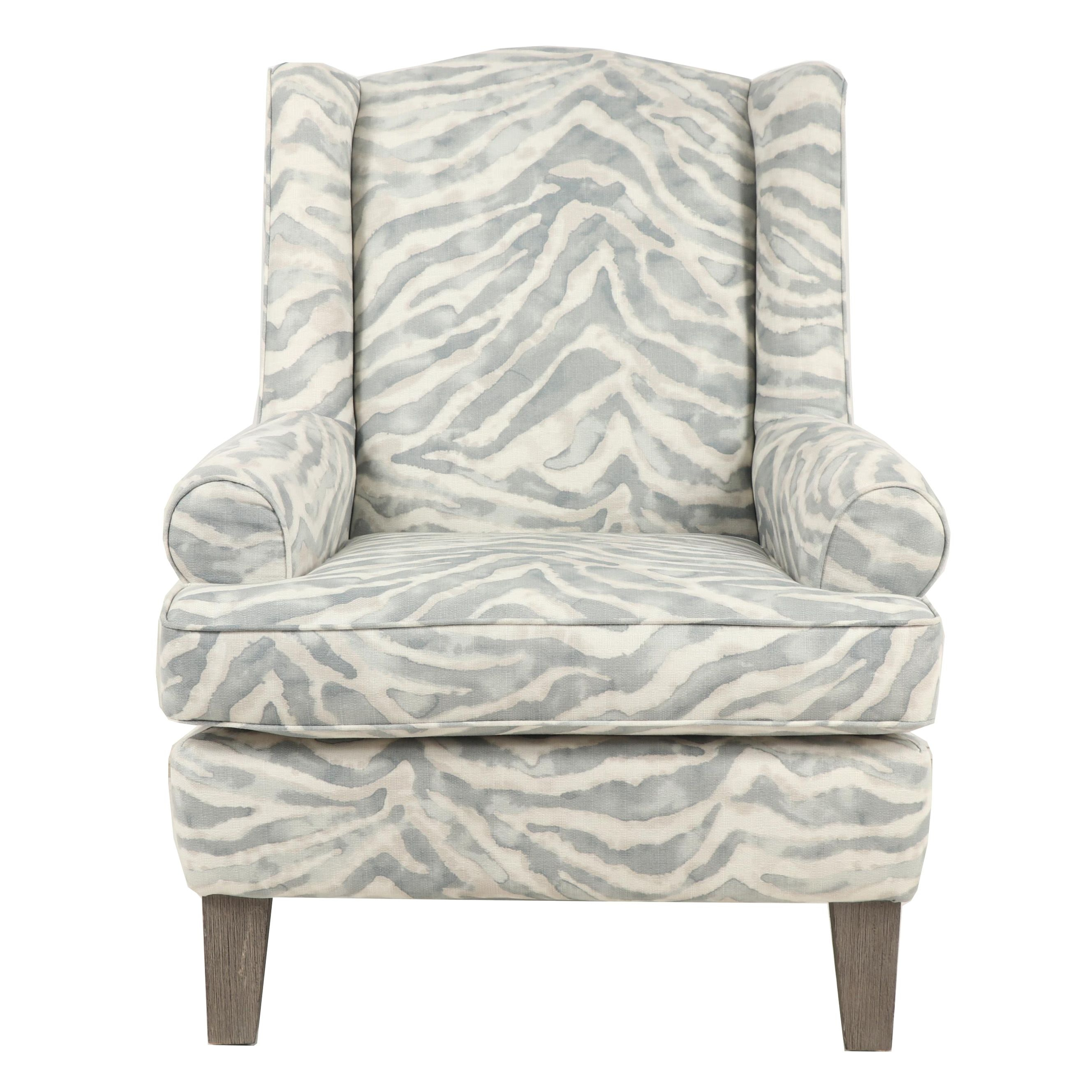 Contemporary Wingback Armchair with Diffused Zebra Stripe Upholstery