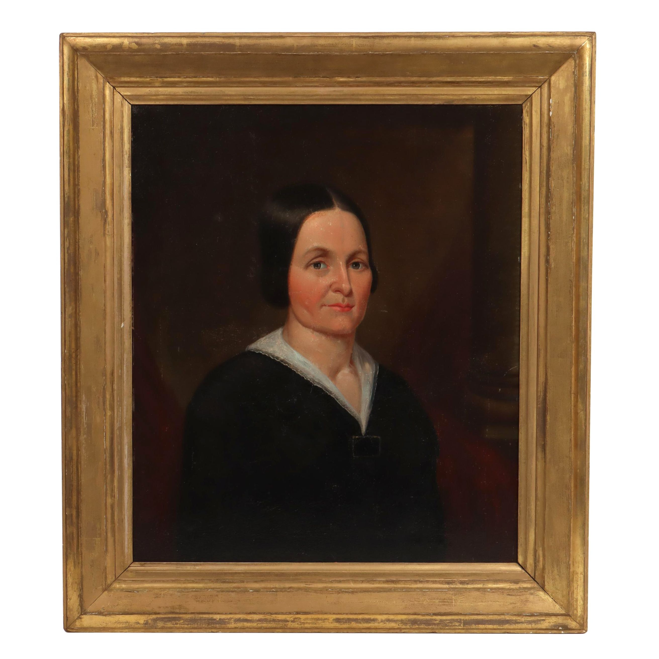 Early American Style Portrait Oil Painting