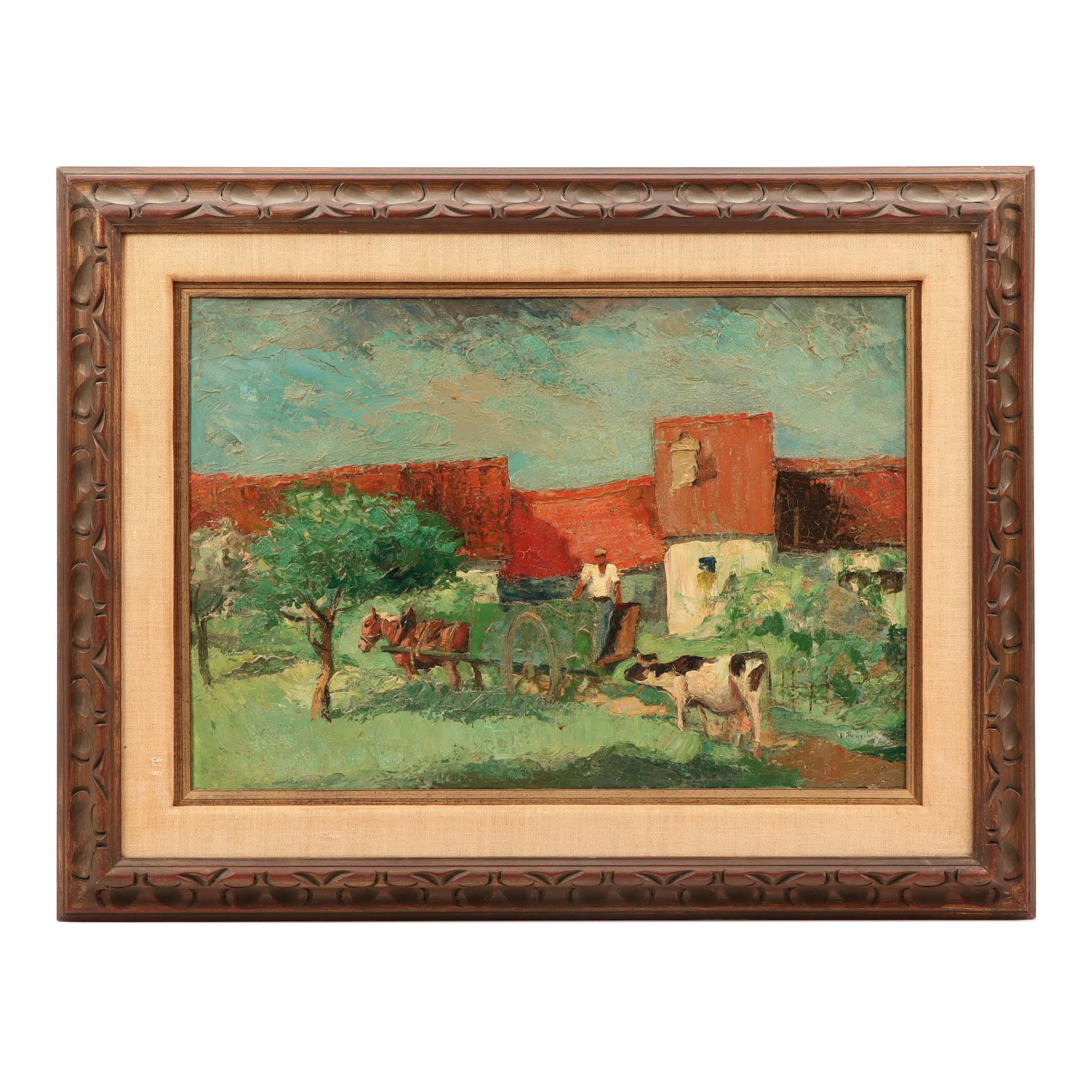 Daniel Rouviere Oil Painting of Pastoral Scene