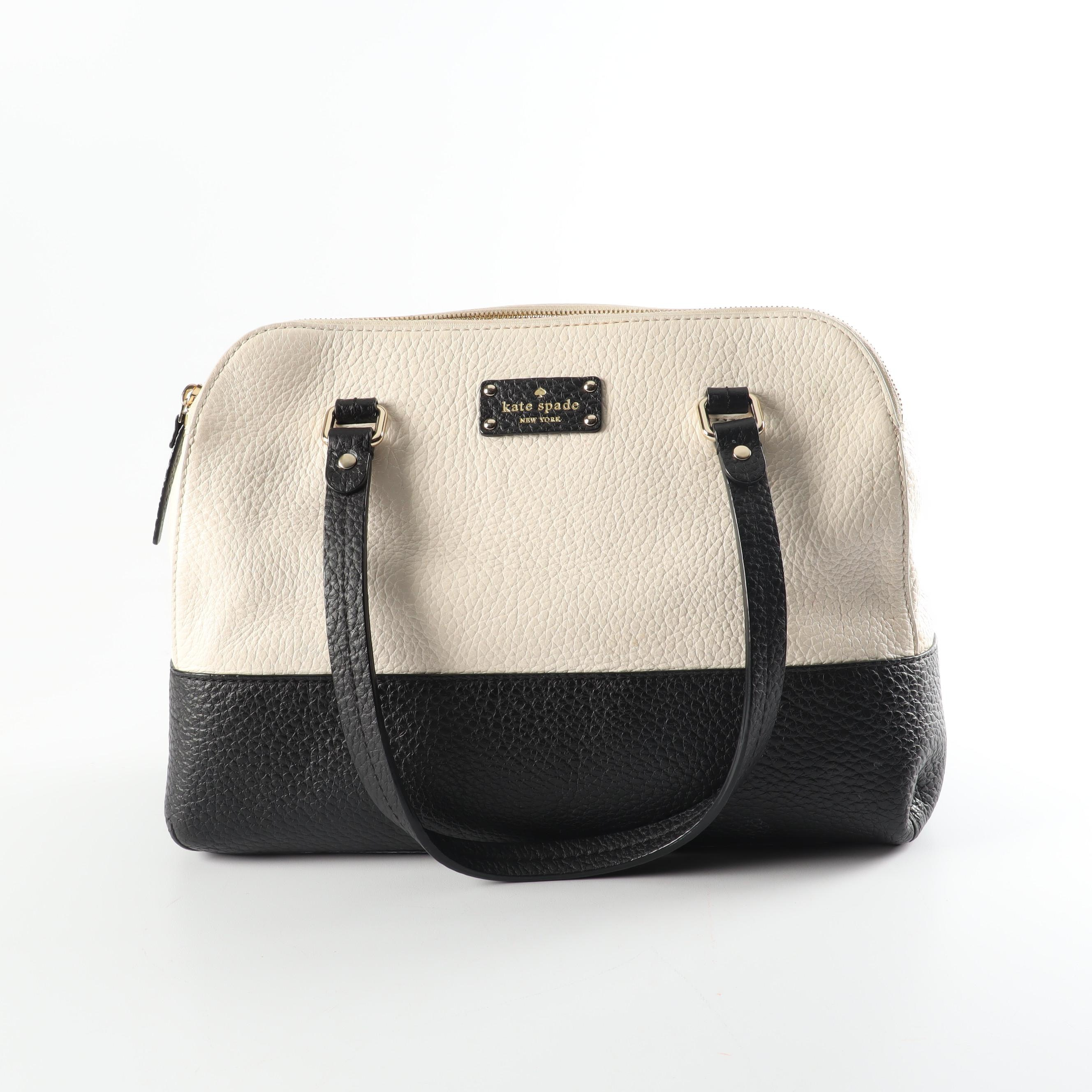 Kate Spade New York Lainey Pebbled Leather Handbag in Ivory and Black