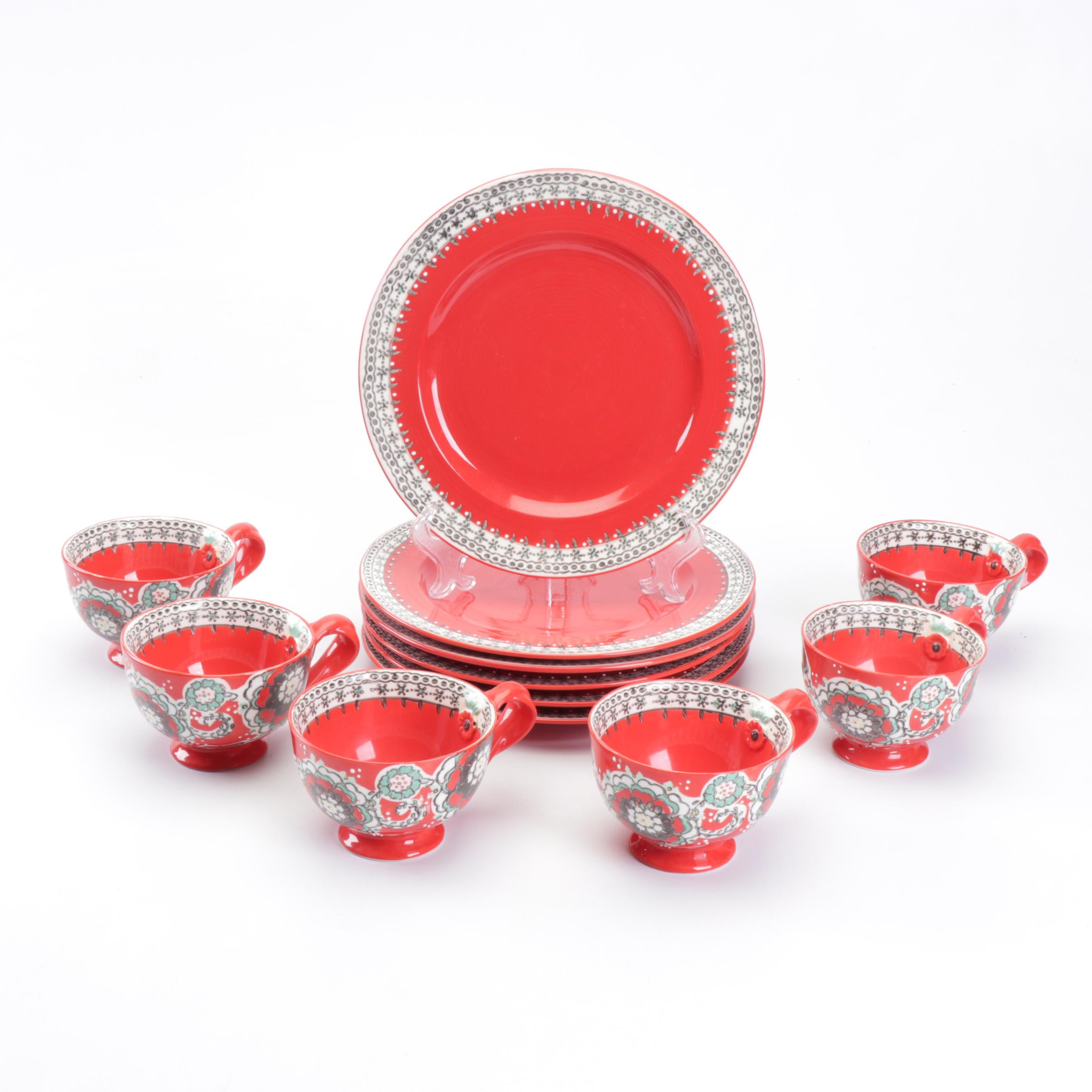 """Anthropolgie """"Ayaka"""" Red Floral Coffee Mugs and Dinner Plates"""