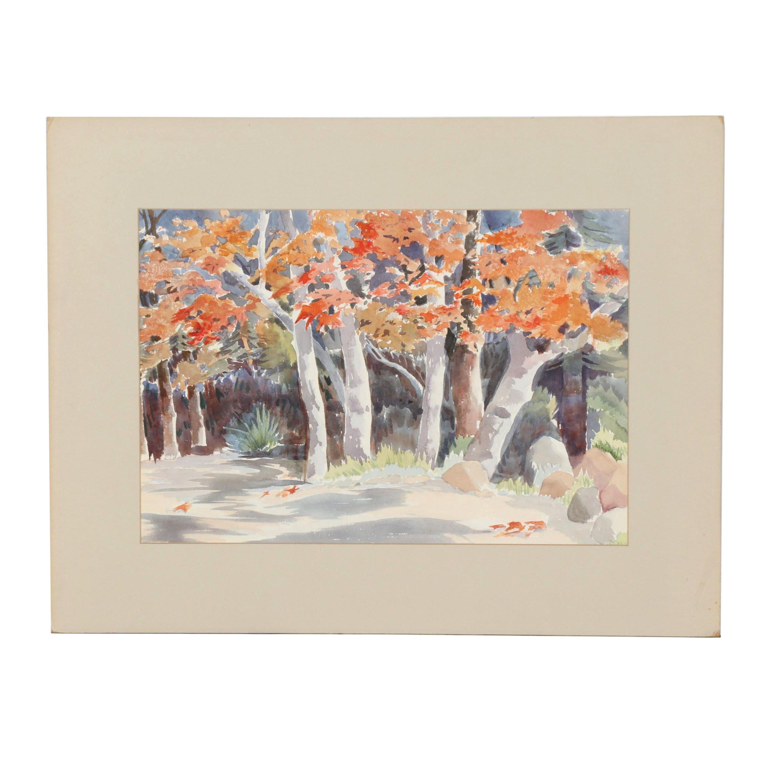 Betty Levasheff Autumn Landscape Watercolor Painting