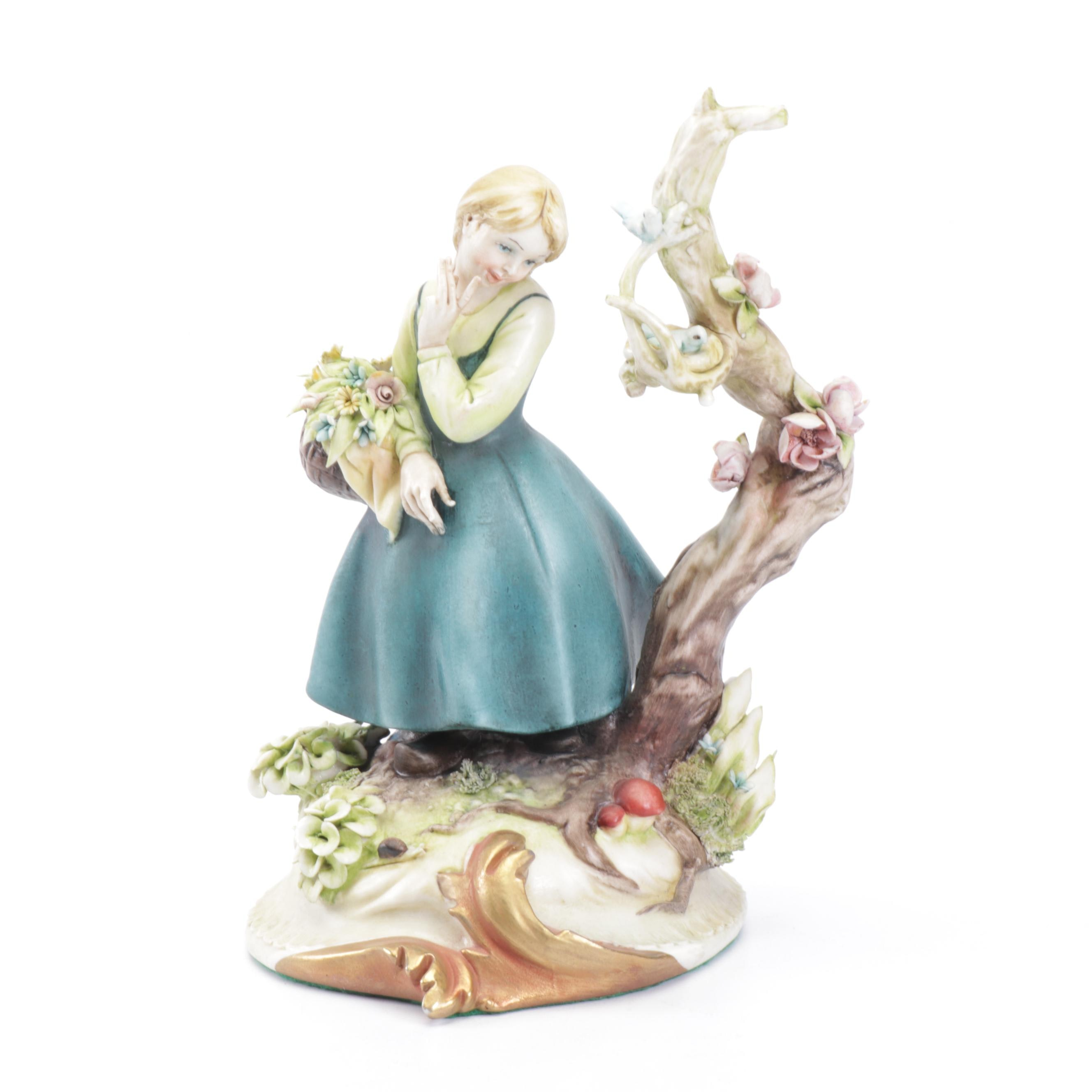 Antonio Borsato Porcelain Woman with Flower Basket Figurine