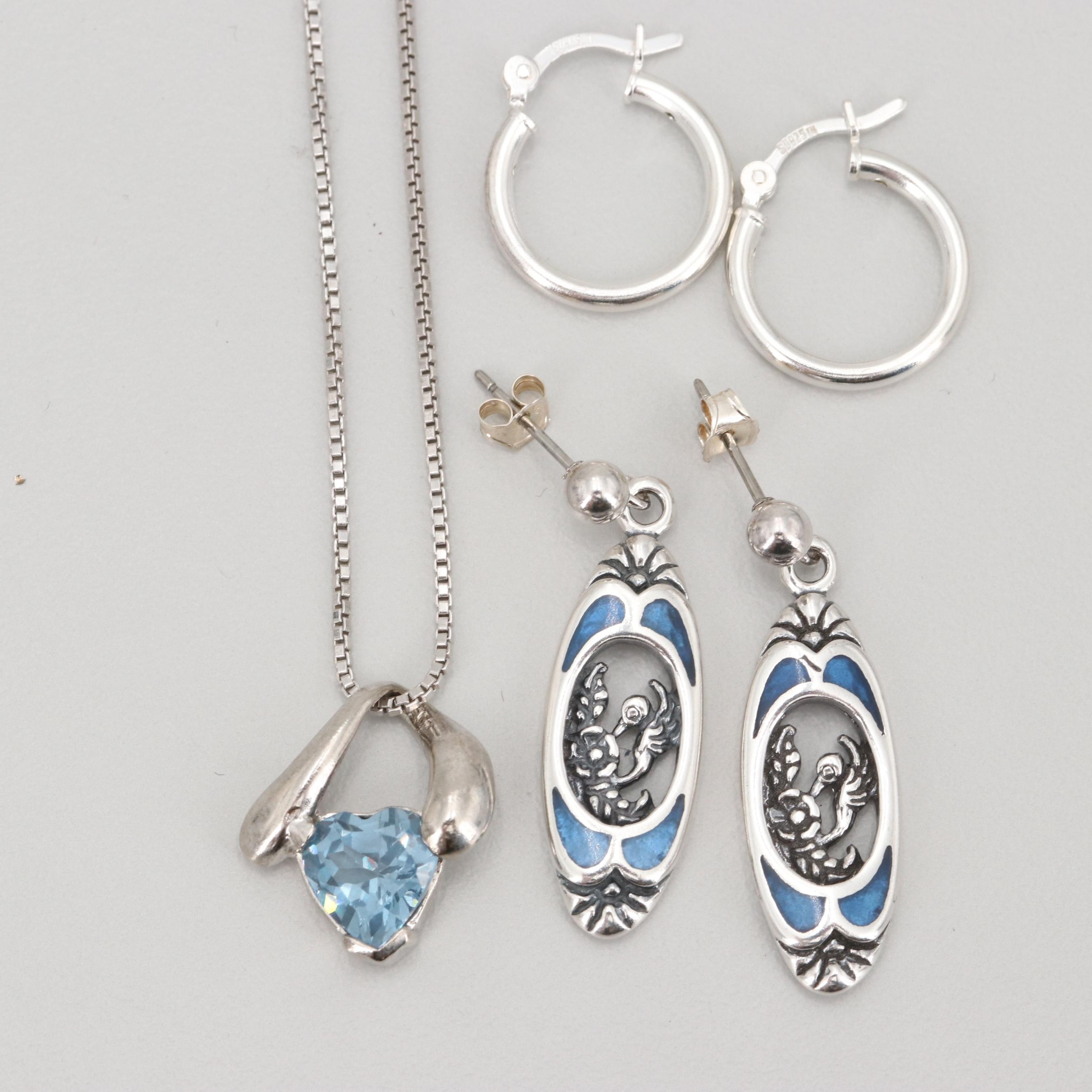 Sterling Silver Earrings and Blue Topaz Pendant Necklace