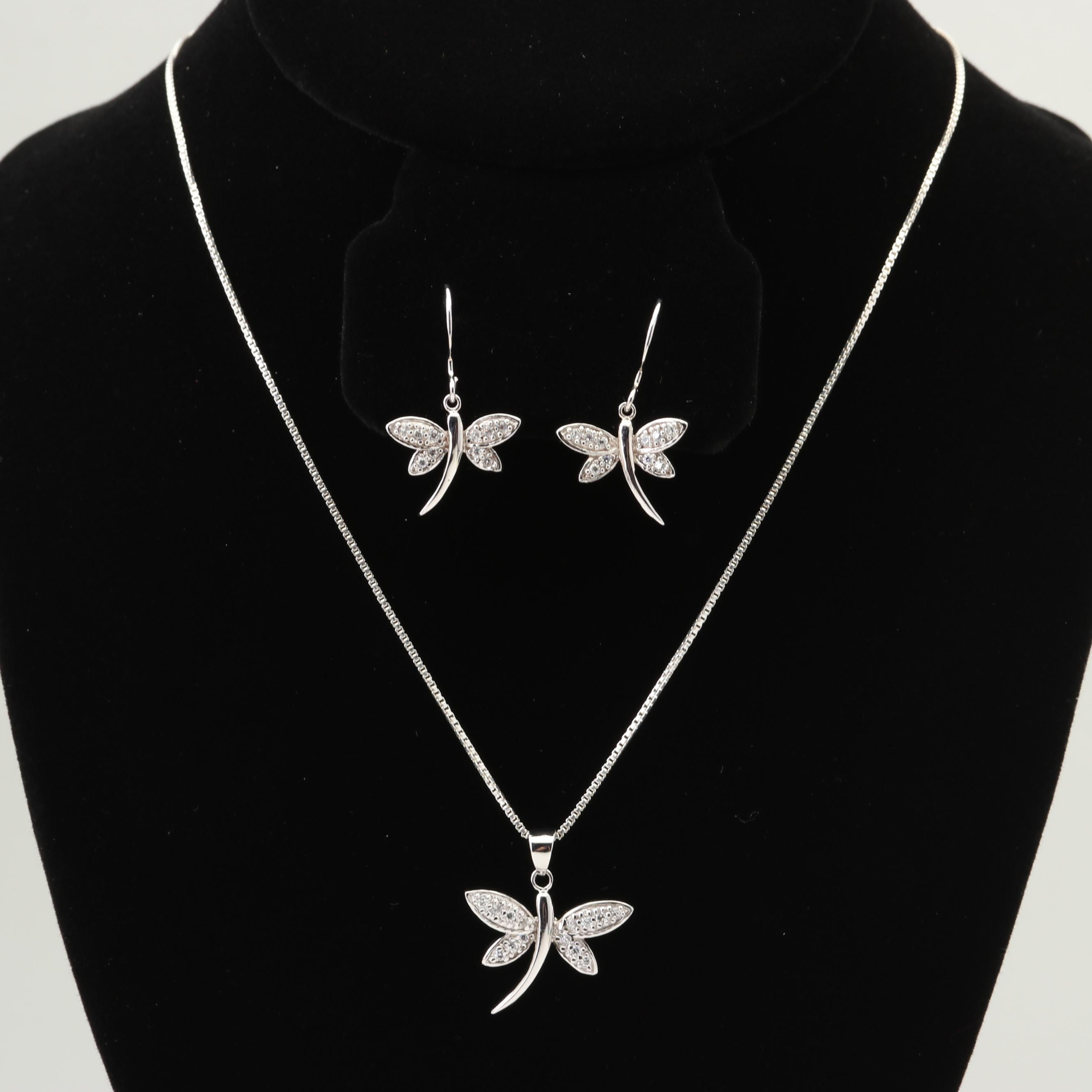 Sterling Silver and Cubic Zirconia Dragonfly Jewelry Set