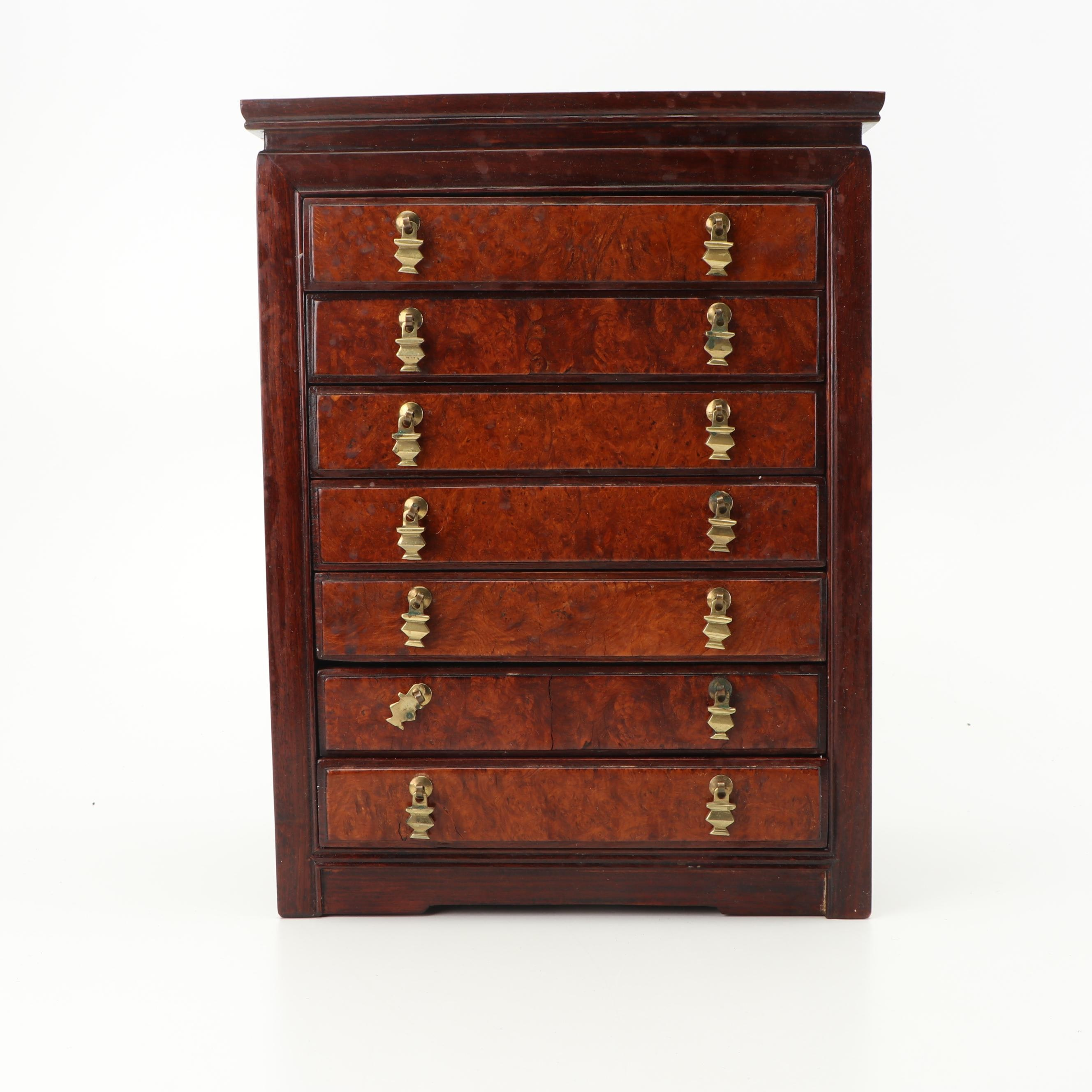 Burl Front Jewelry Chest of Drawers with Brass Pulls, Mid-Late 20th Century