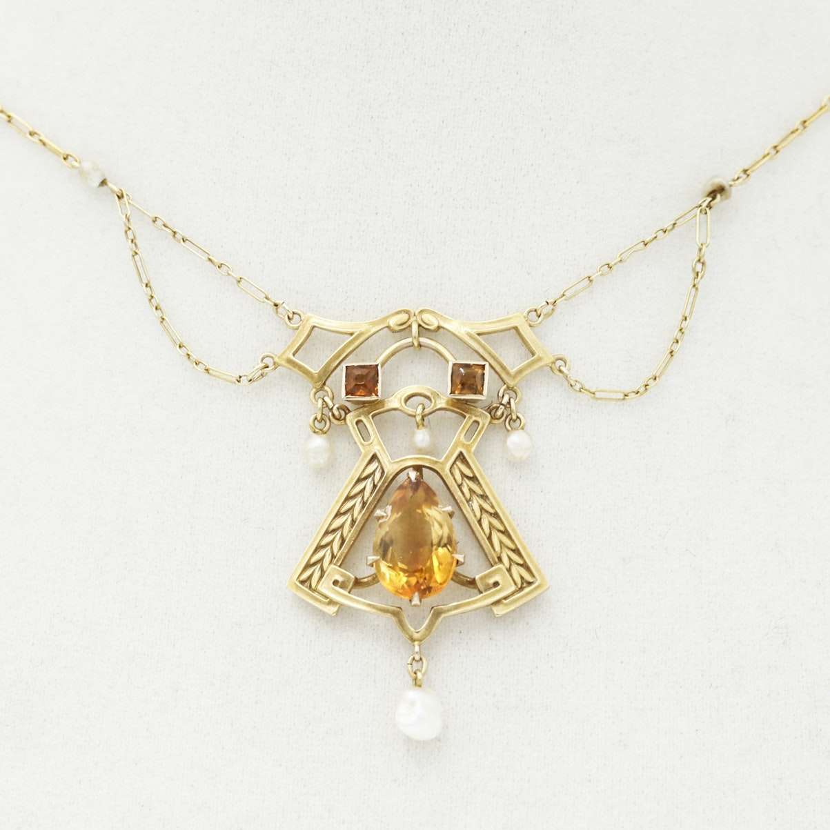 Art Deco 14K Yellow Gold Citrine and Seed Pearl Necklace, Vintage