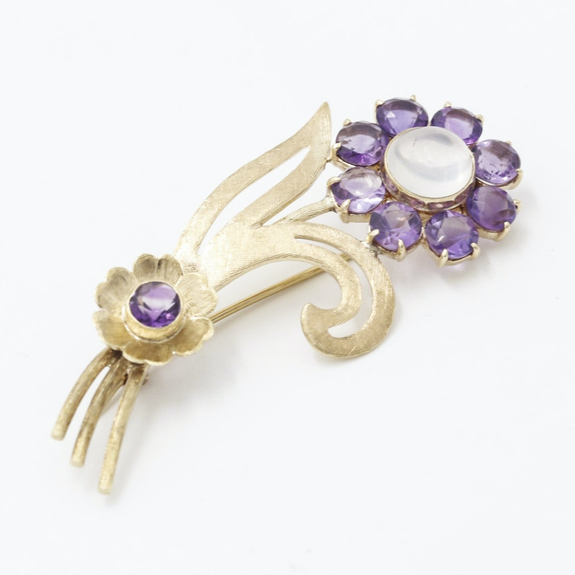 14K Yellow Gold Amethyst and Moonstone Flower Brooch