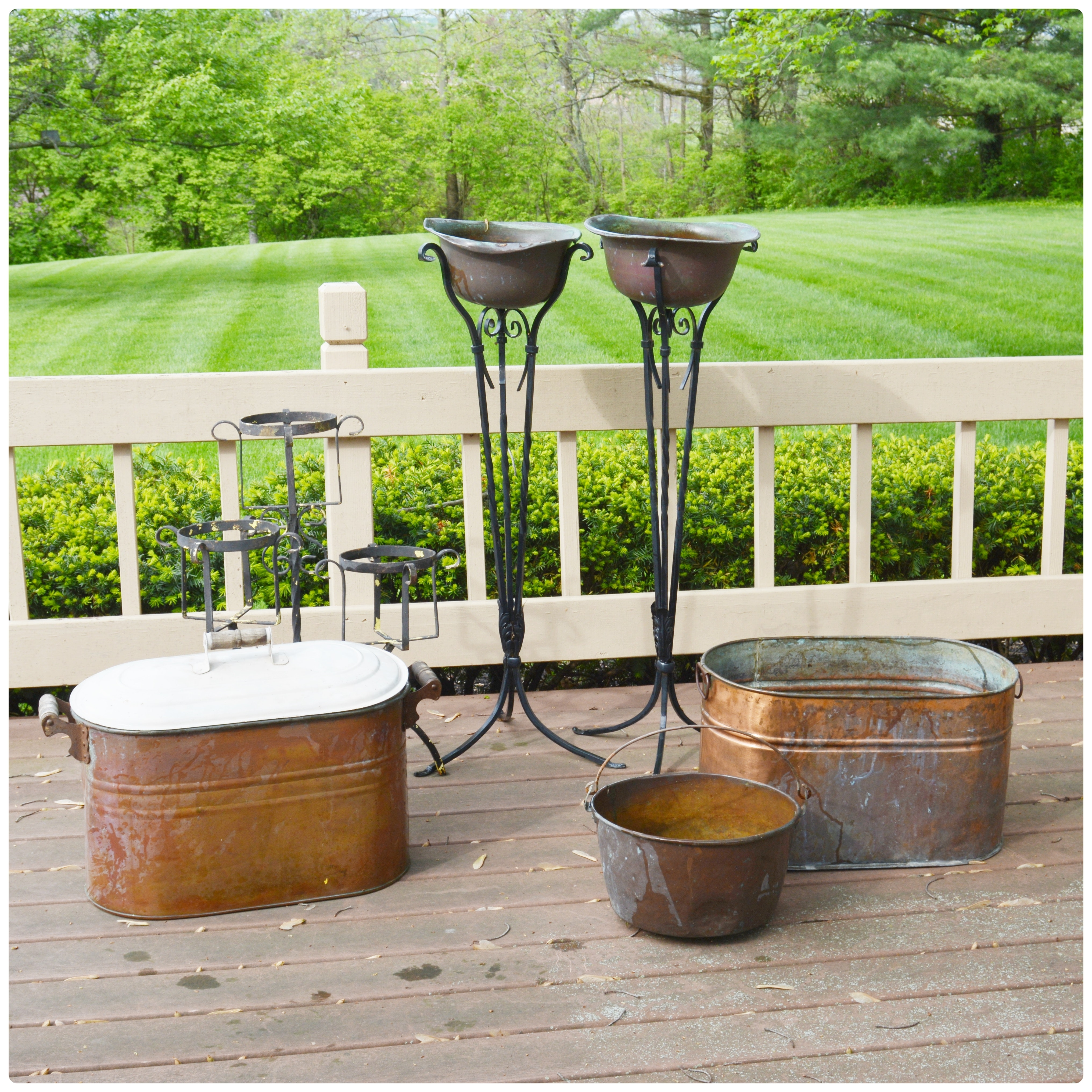 Outdoor Patio Copper Bowl Planters, Copper Wash Tubs, and Pot Holder