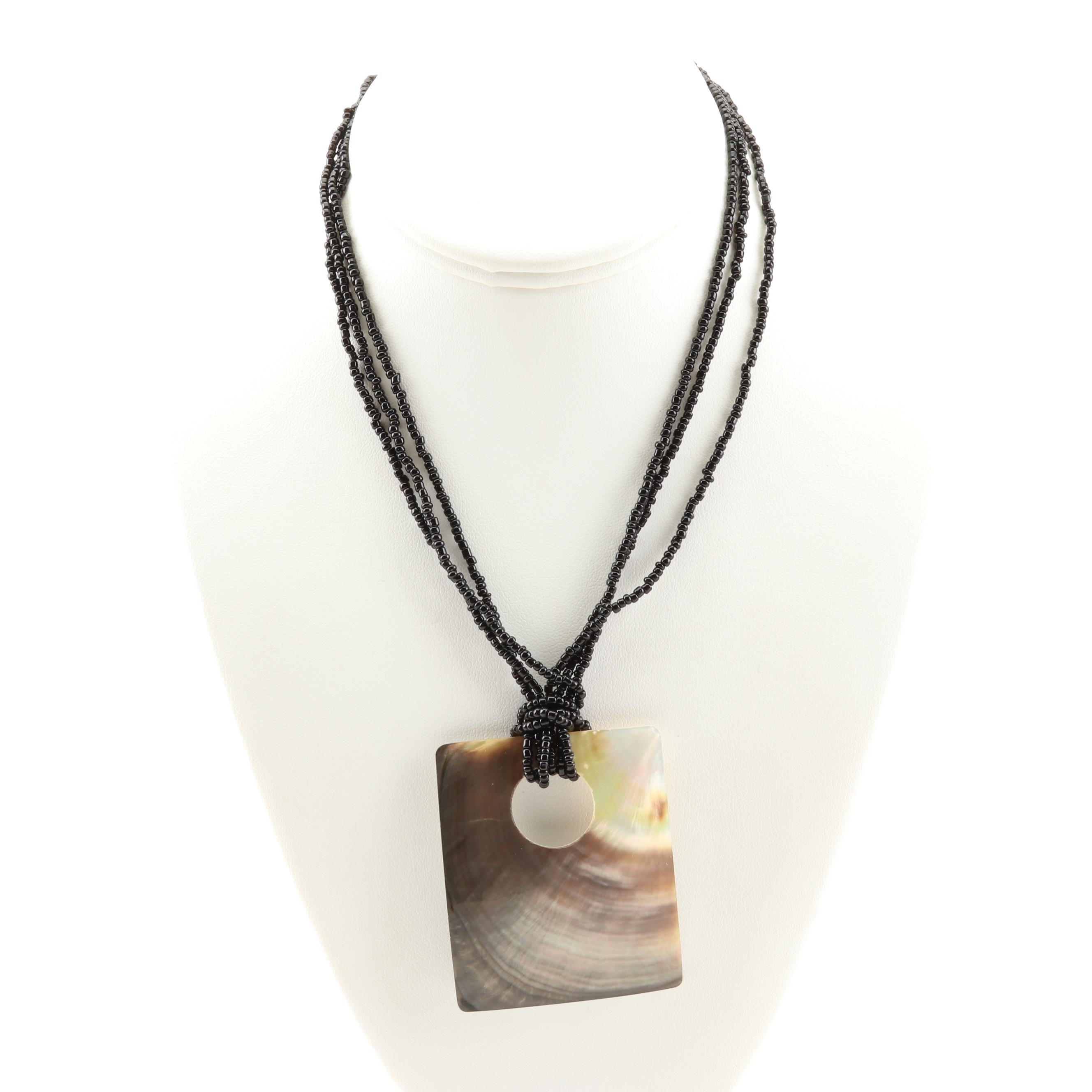 Mother of Pearl Pendant Bead Necklace