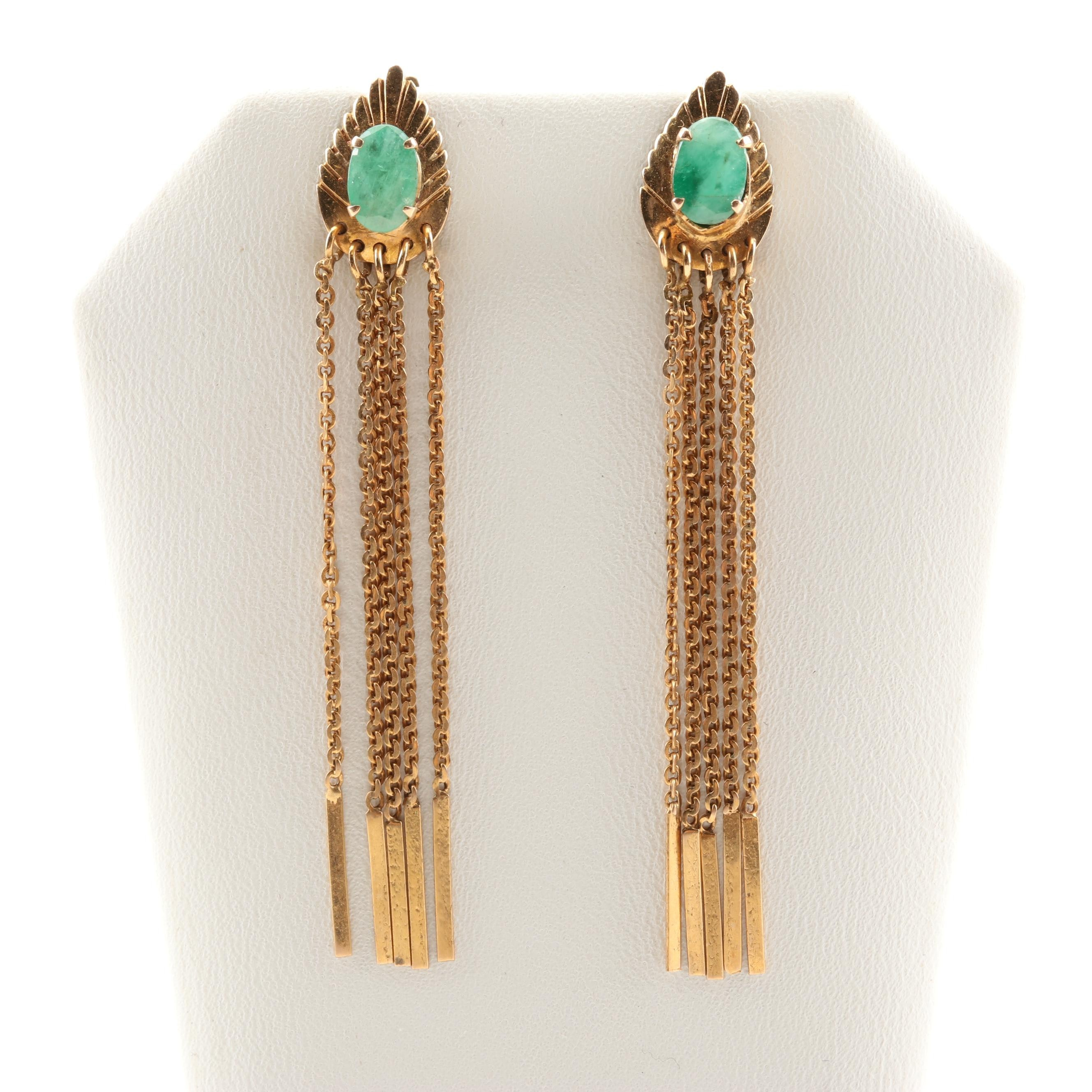 14K Yellow Gold 1.50 CTW Emerald Tassel Earrings