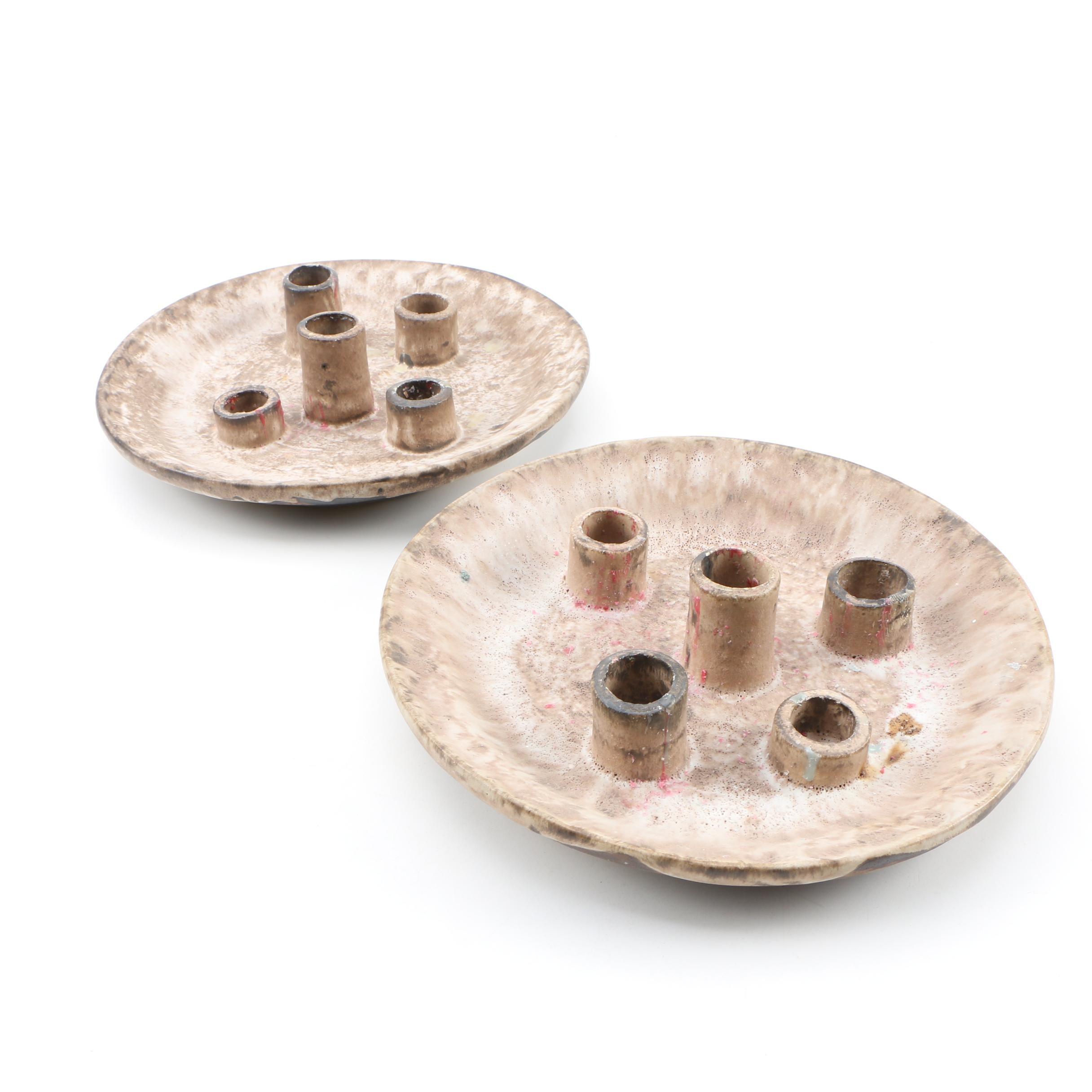 Thrown Stoneware Candleholders