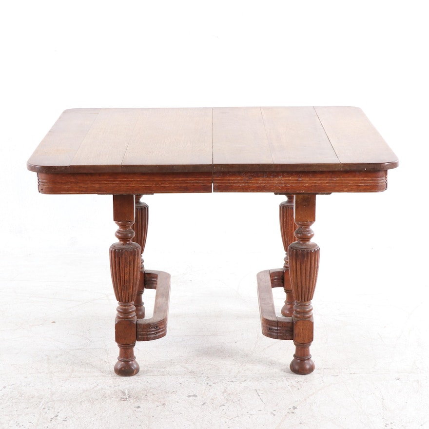 William And Mary Style Oak Dining Table Early 20th Century