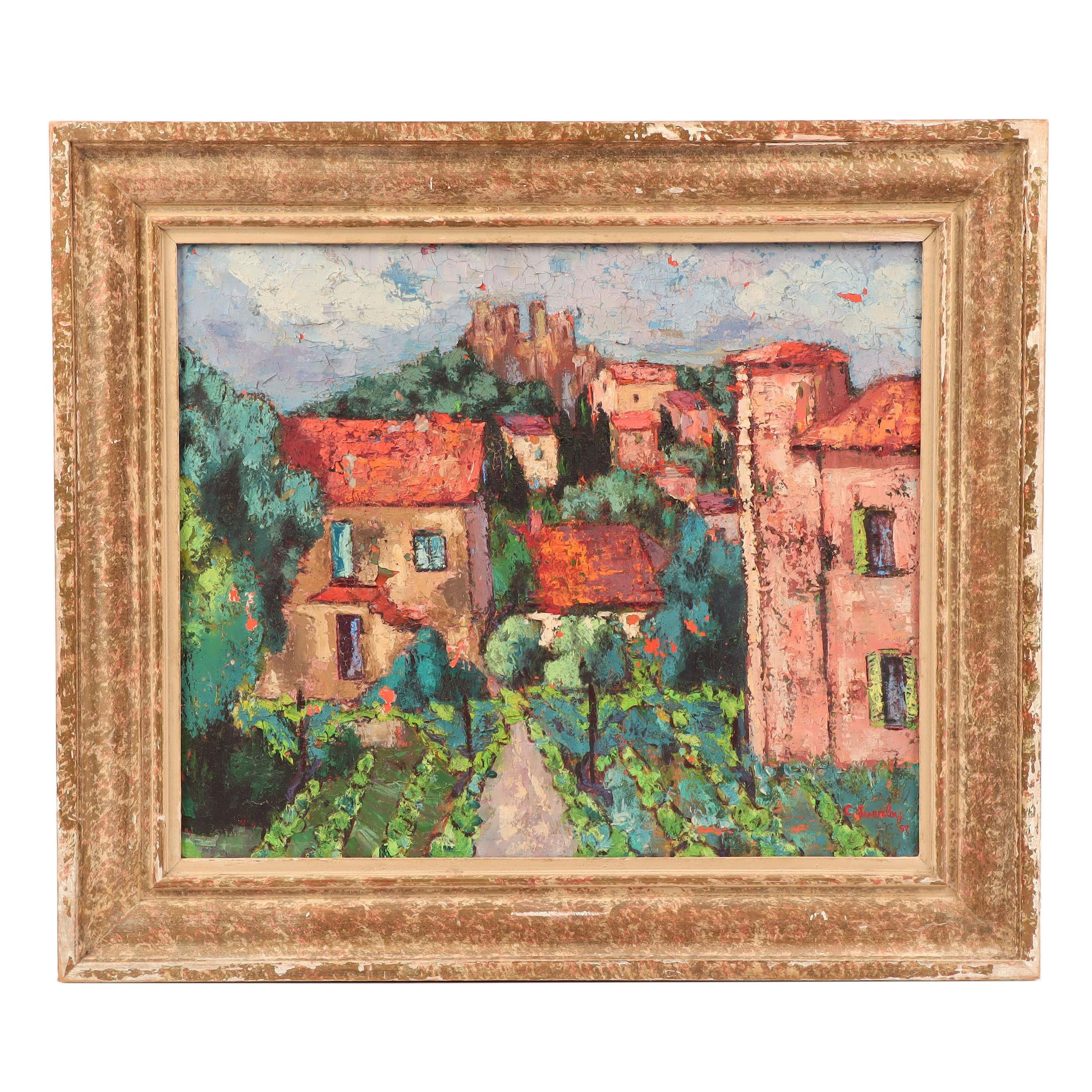 C. Everly Oil Painting of Village Scene